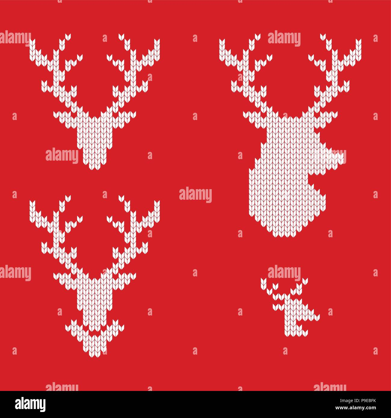 Knitted Icons Of Reindeer For Drawing Greeting Cards And Advertising