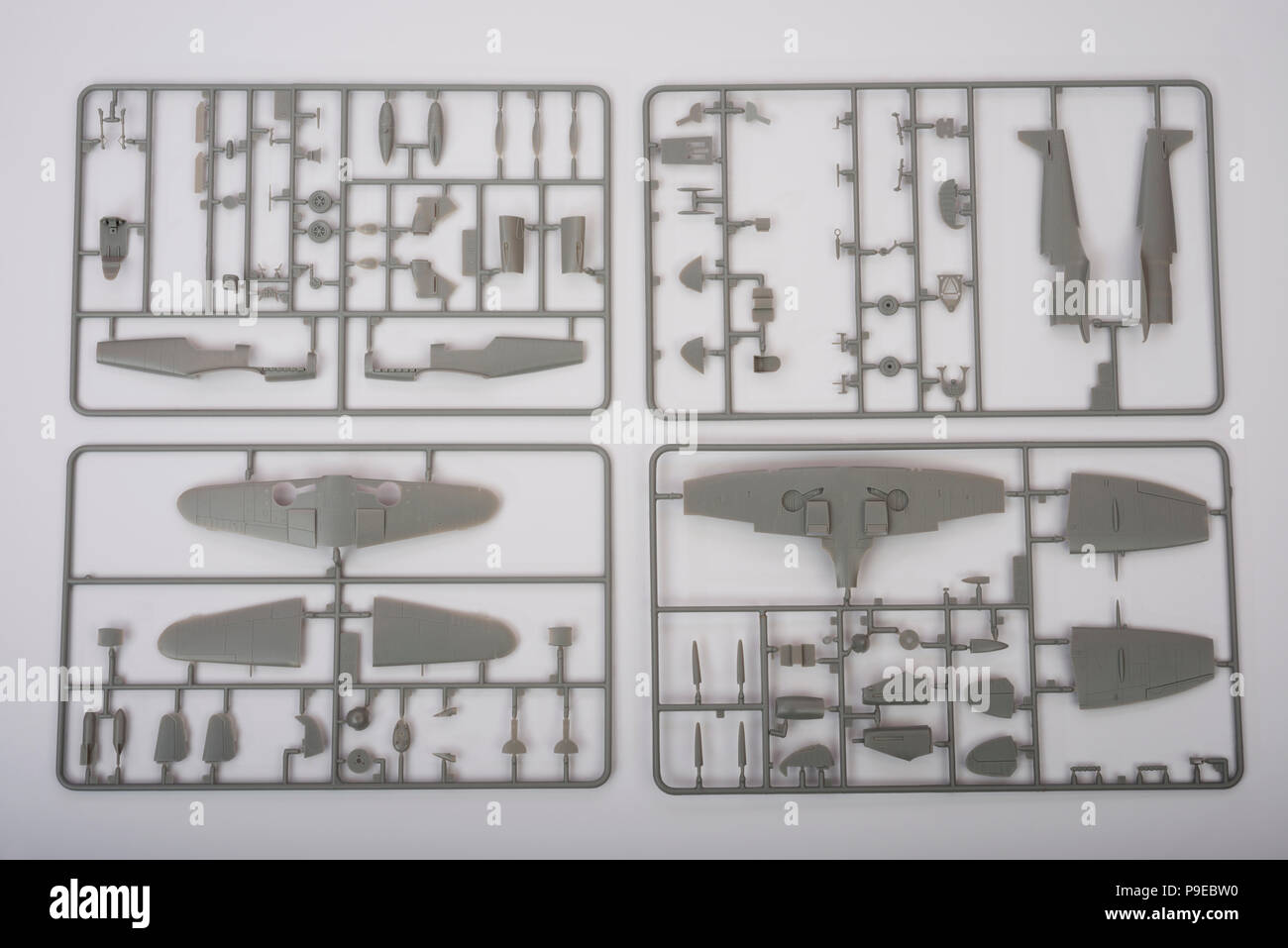Italeri Messerschmitt and Spitfire model aircraft parts Stock Photo