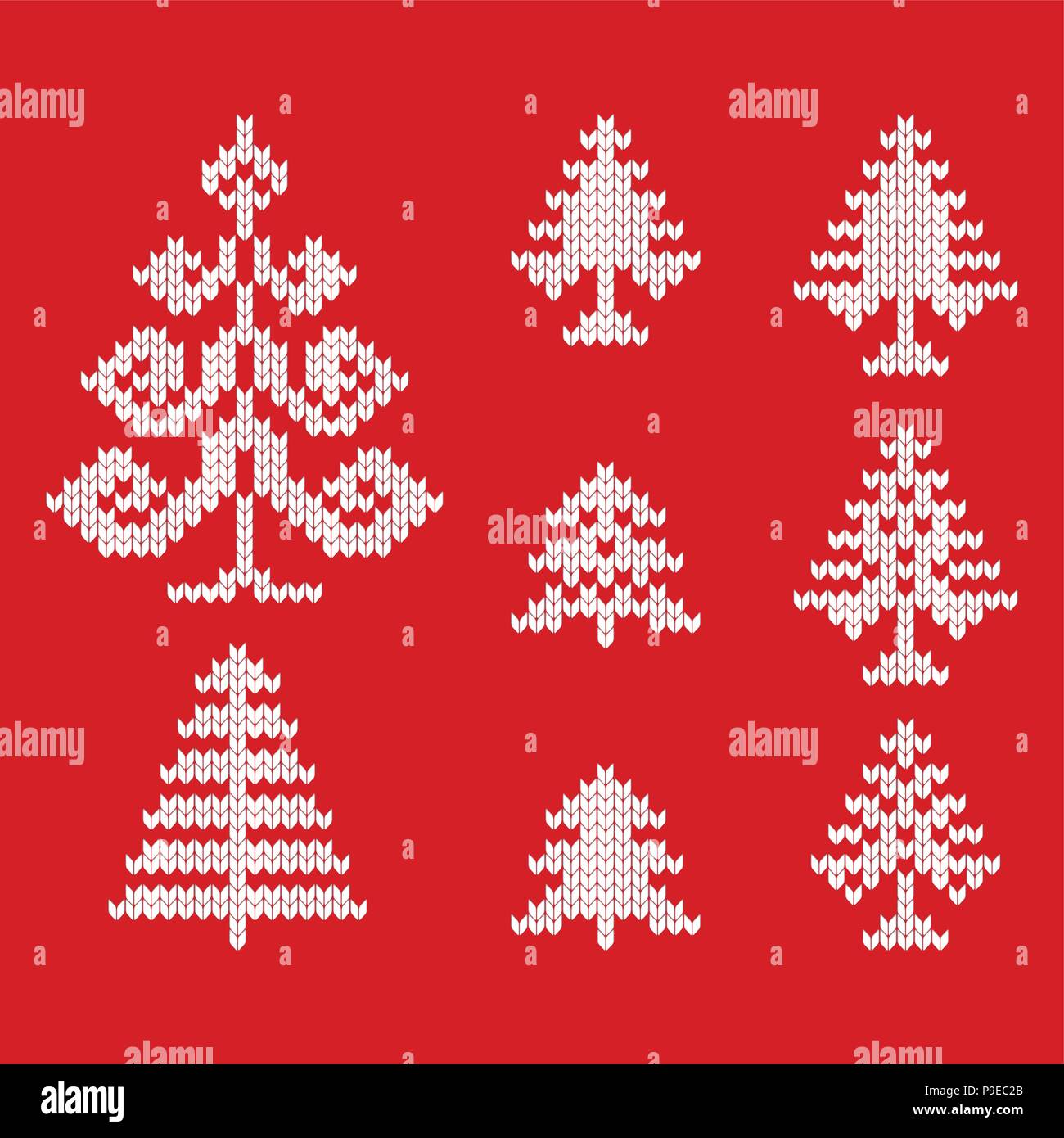 Knitted icons of christmas trees for drawing greeting cards and knitted icons of christmas trees for drawing greeting cards and advertising for christmas and new year m4hsunfo
