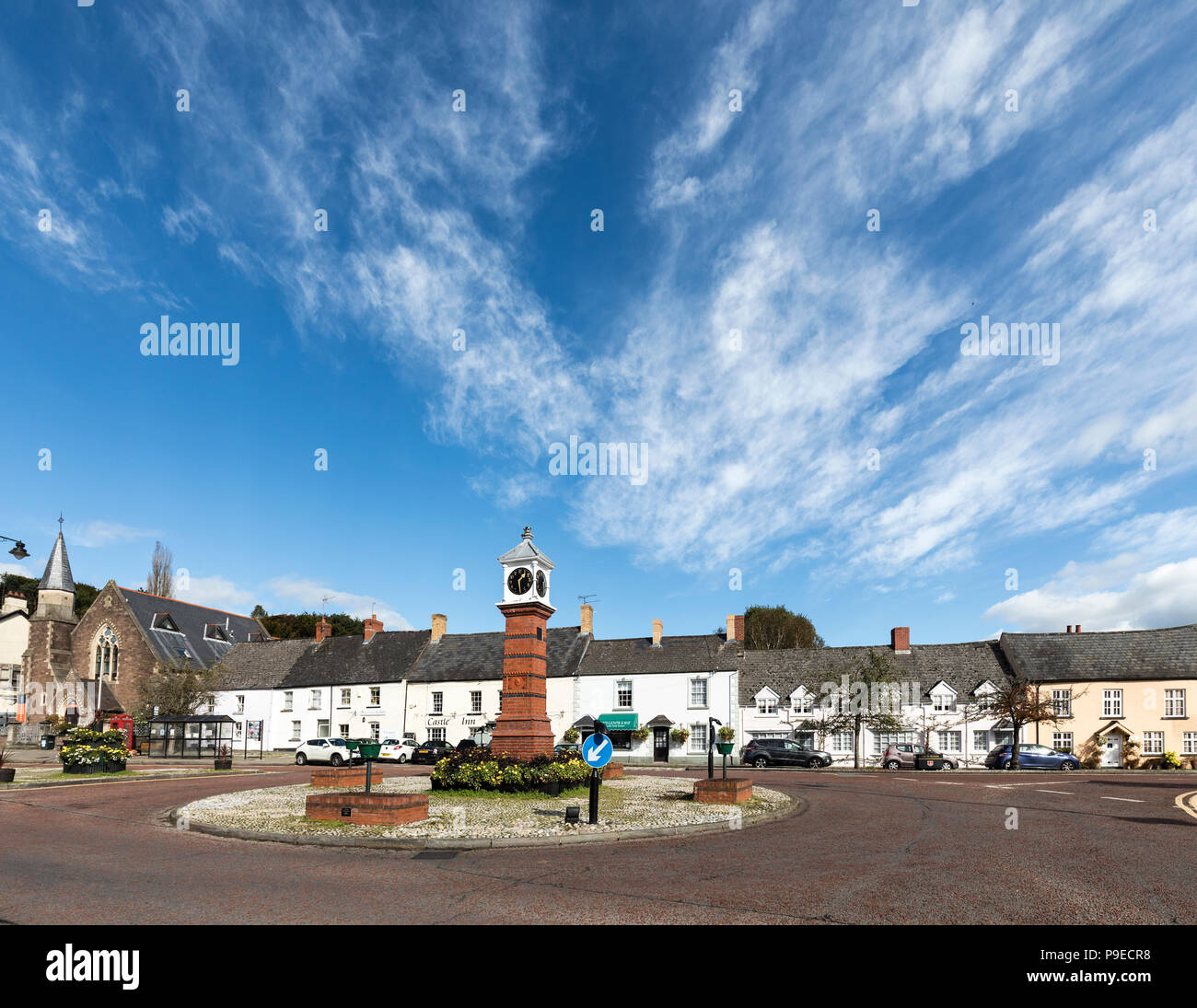 Clock on roundabout in centre of Usk, Wales, UK - Stock Image