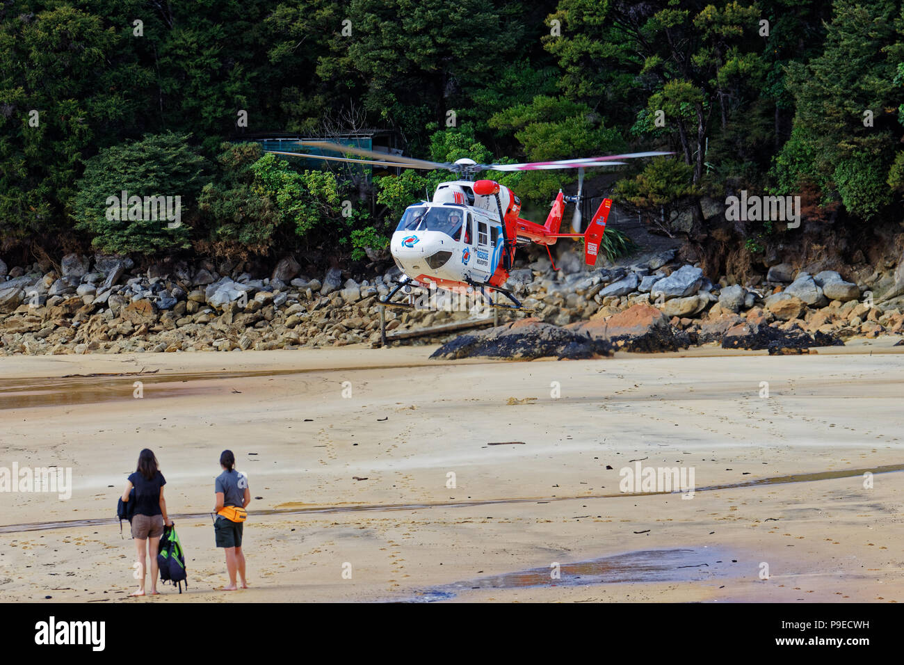 Rescue helicopter at Anchorage Bay, Abel Tasman National Park, New Zealand - Stock Image