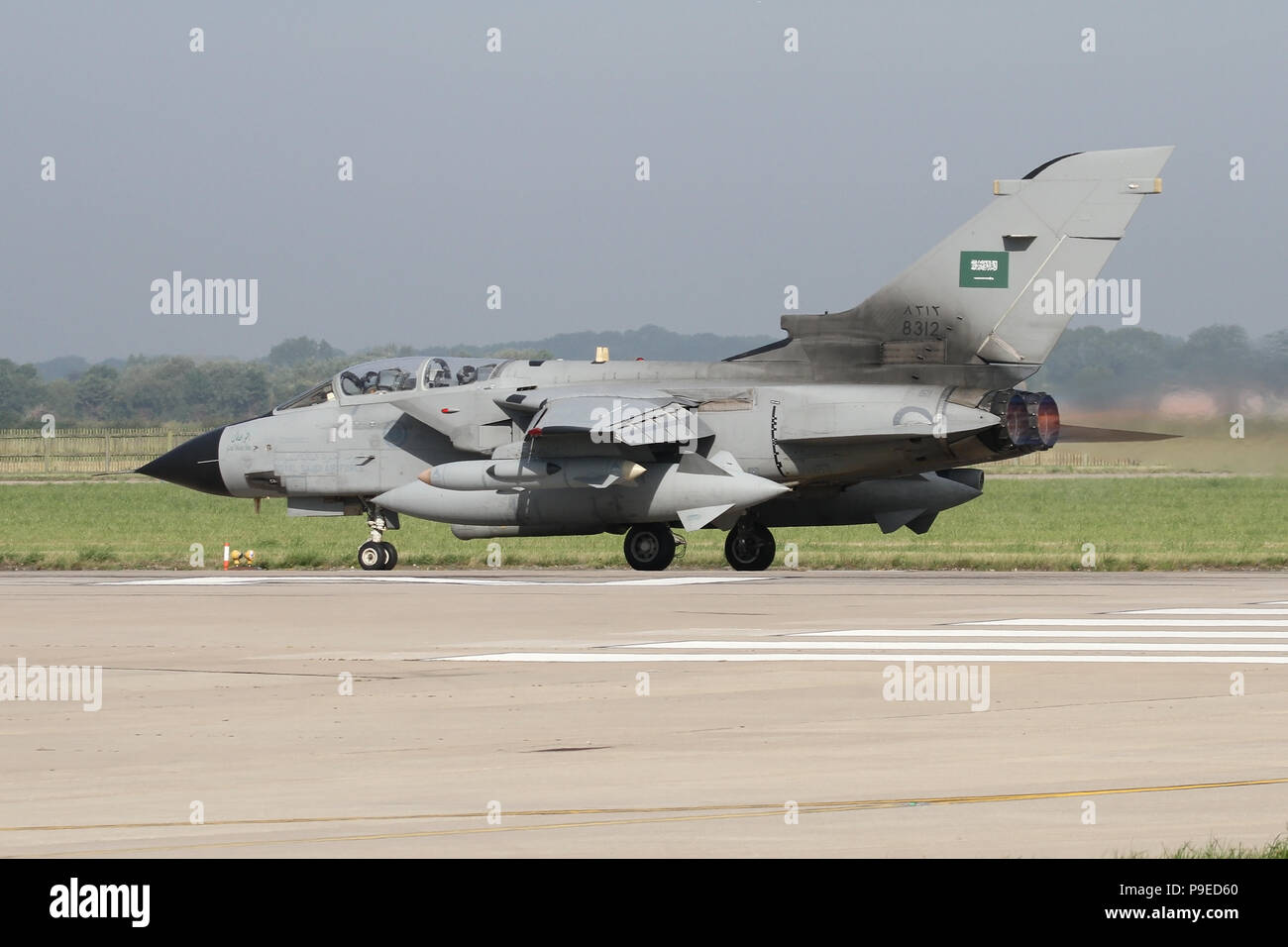 Royal Saudi Air Force Tornado IDS rolling on the RAF Coningsby runway during the combined RAF and RSAF Exercise Green Flag. - Stock Image