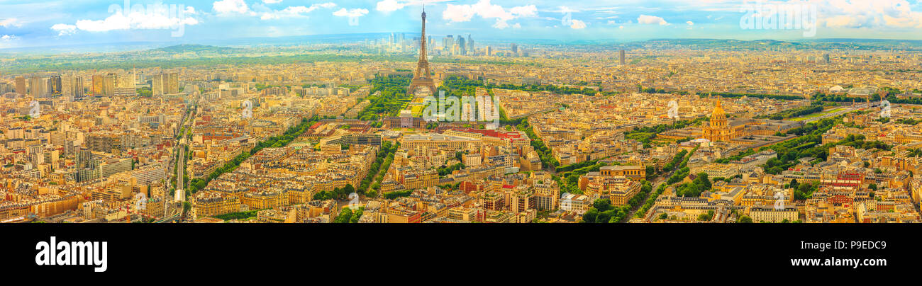 Parisian panorama aerial view of Paris skyline with the Tour Eiffel tower and national residence of the Invalids palace. Top of the Tour Montparnasse tower of Paris city, in France. Stock Photo