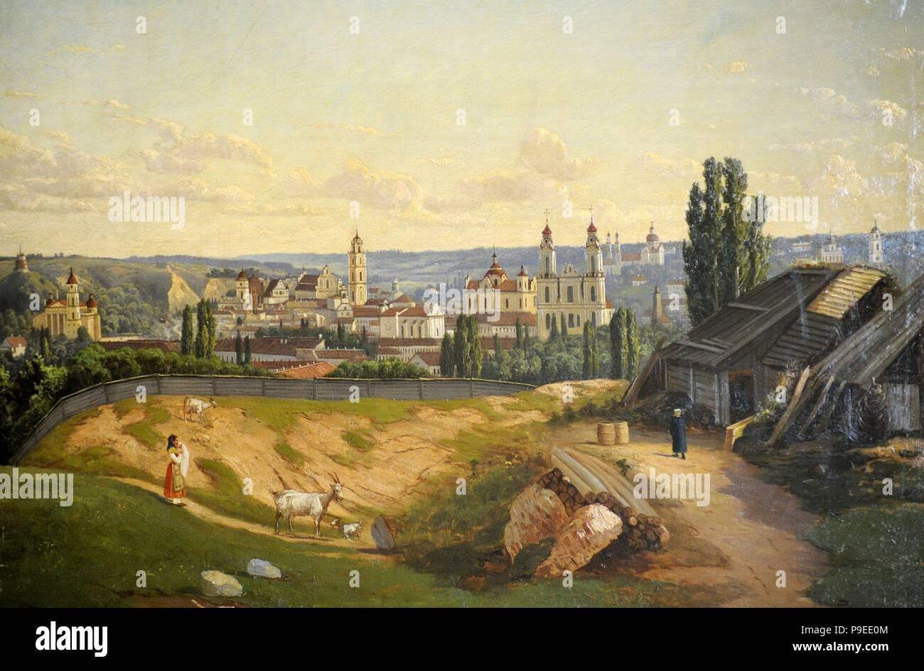 Josef Marszewski (1825-1883). Vilnius Viewed from Tauras Hill, 1872. Vilnius Picture Gallery. Lithuania. Stock Photo