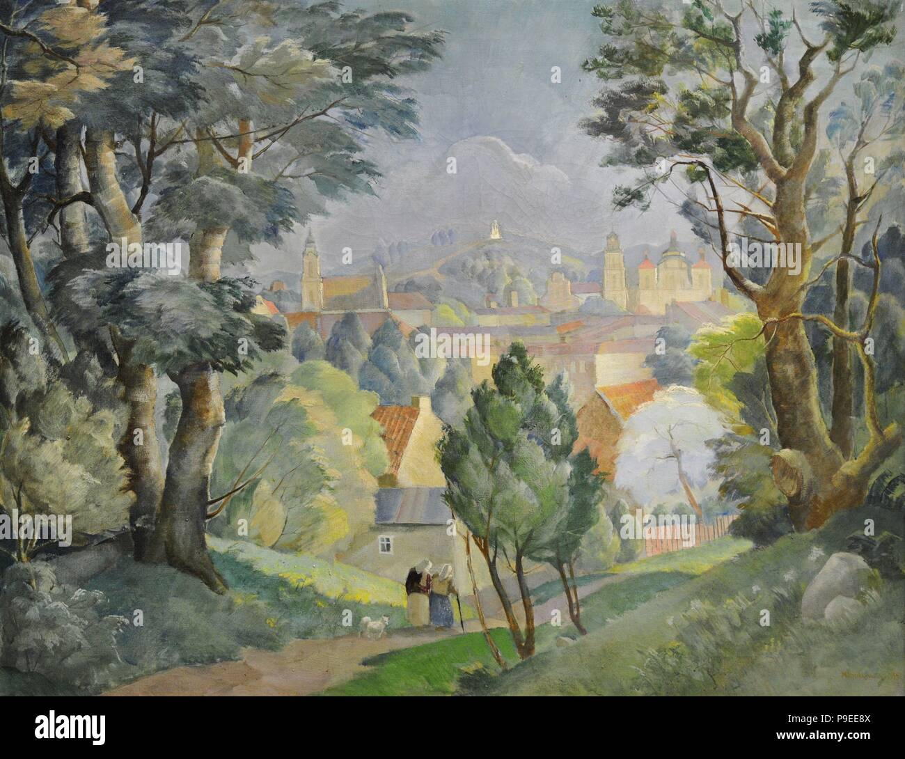 Michal Rouba (1893-1941). Polish painter. Panorama of Vilnius from Tauras hill, 1934. National Gallery of Art. Vilnius, Lithuania. Stock Photo