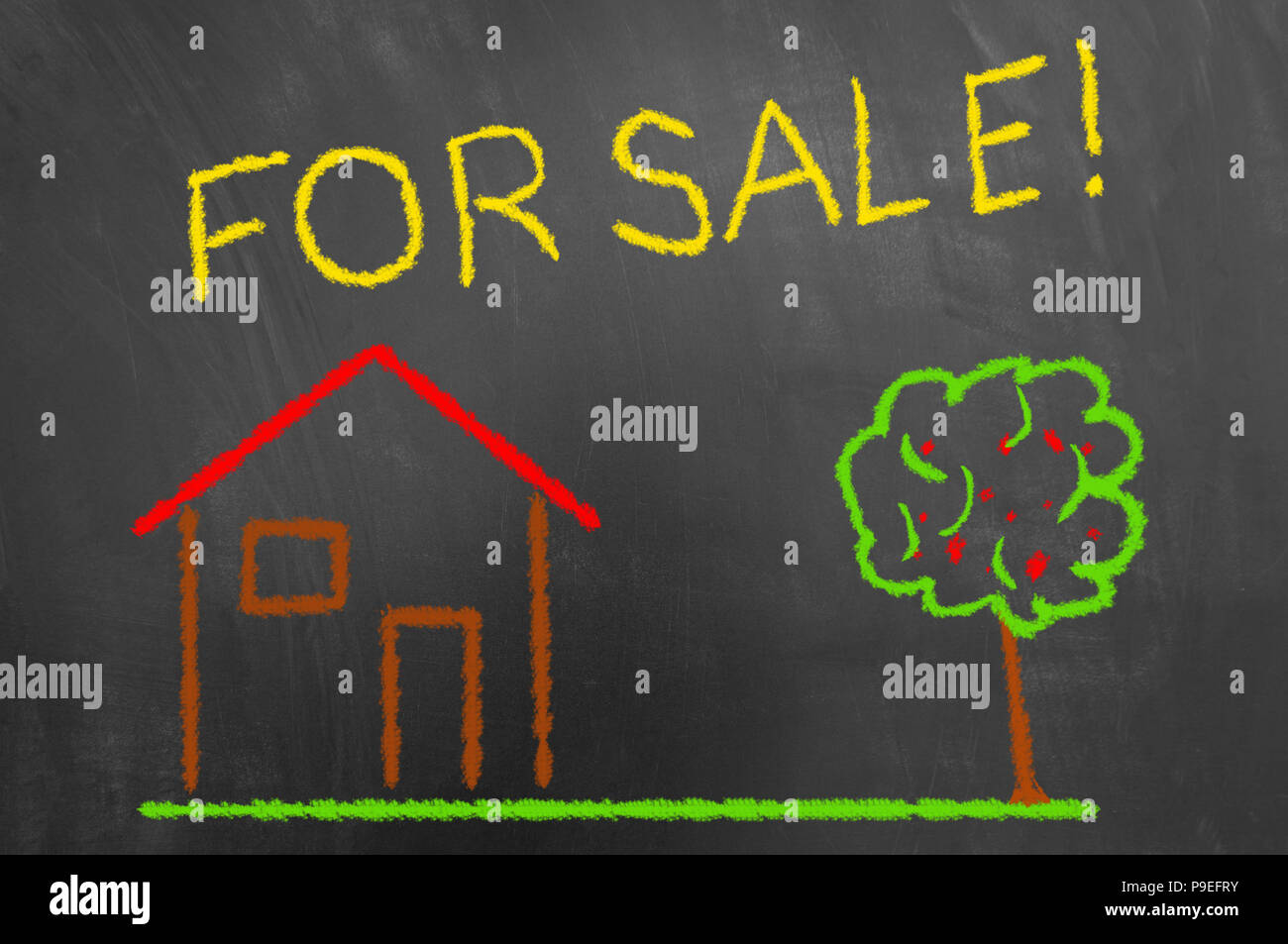 House for sale colorful chalk drawing on chalkboard or blackboard as real estate cozy new home living residence concept - Stock Image
