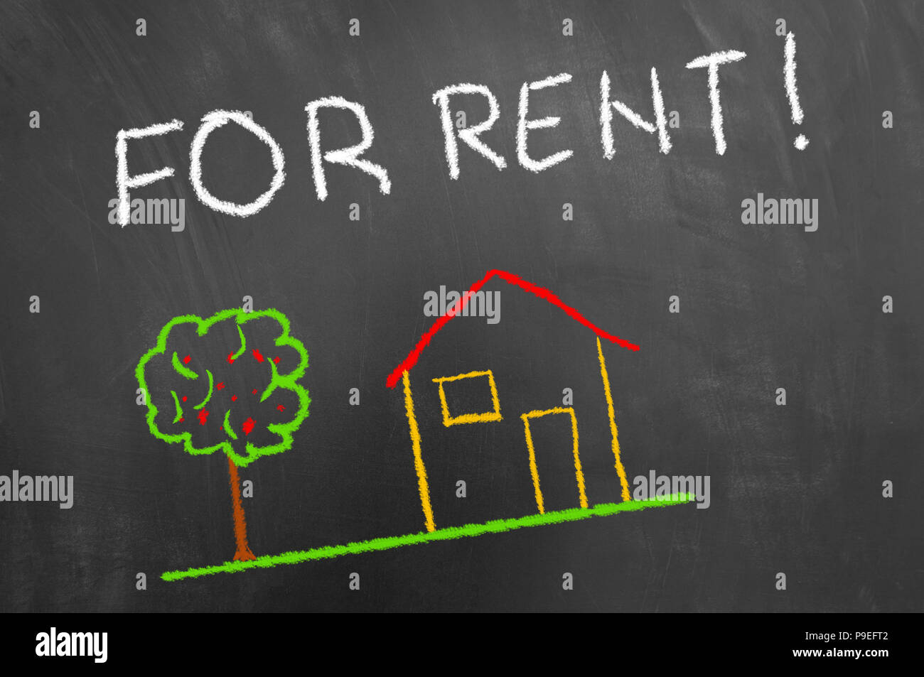 For rent house colorful chalk drawing and hand writing text on blackboard or chalkboard as real estate landlord housing concept - Stock Image