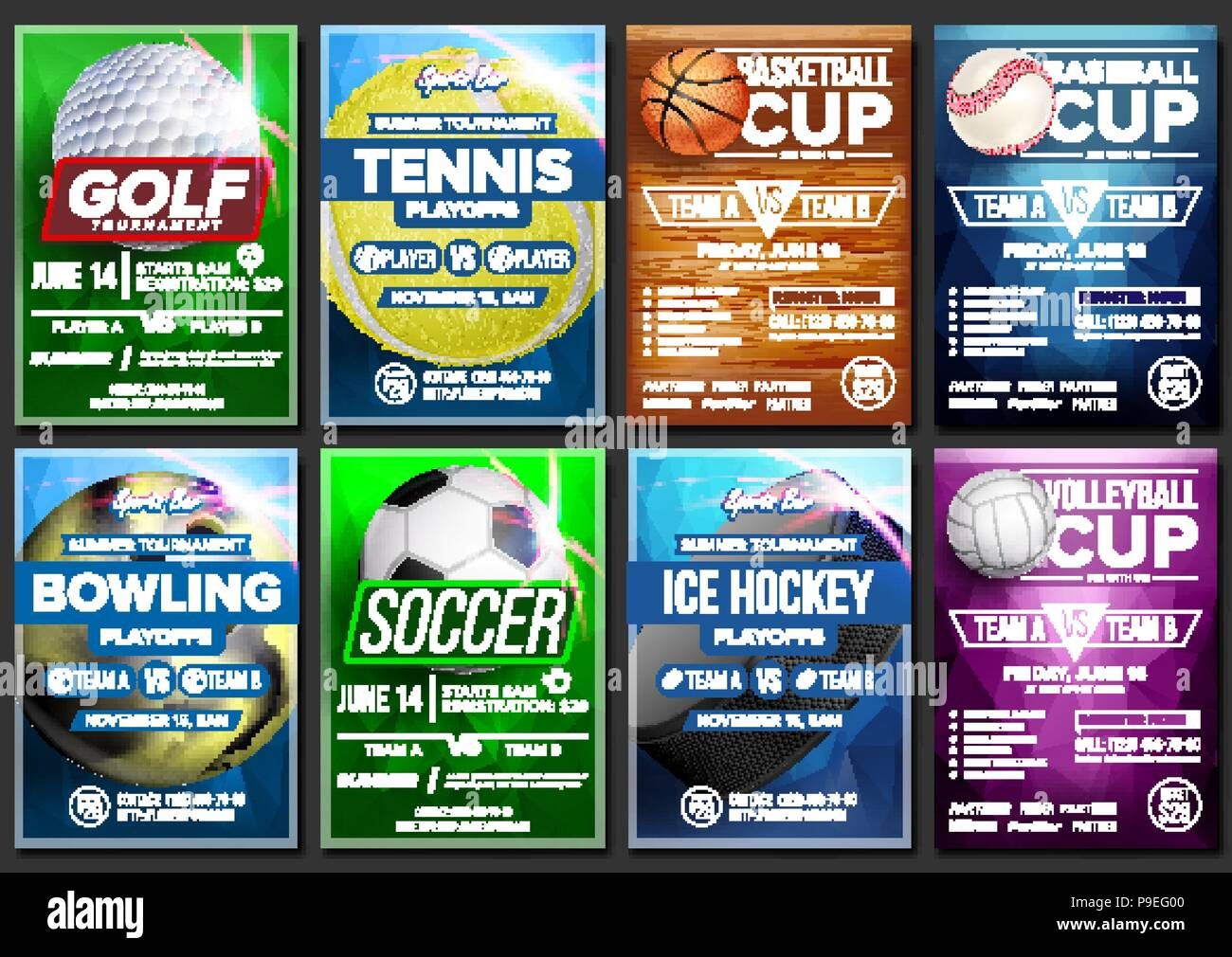 sport poster set vector ice hockey bowling basketball golf