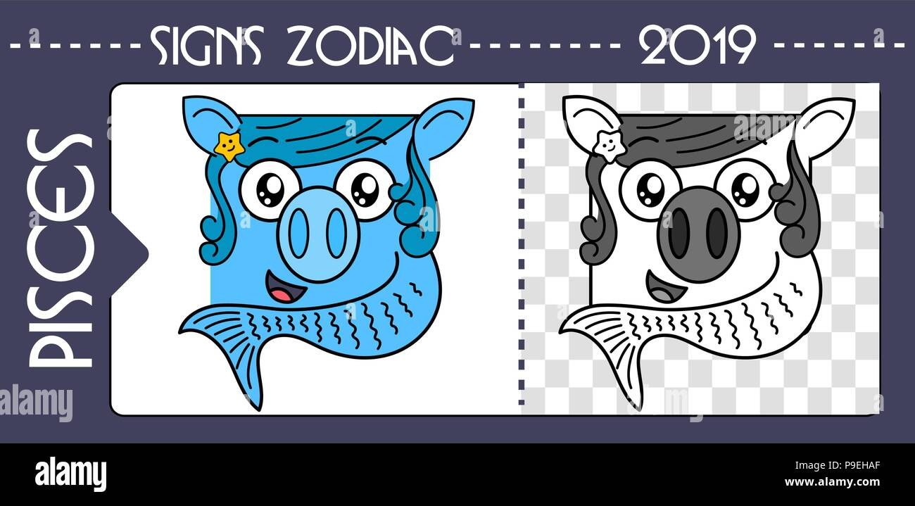 Horoscope Zodiac Symbol 2019 Year Of A Pig Pisces Flat Artoon Hinese Colored Icon And Black White Illustration Isolated On Back