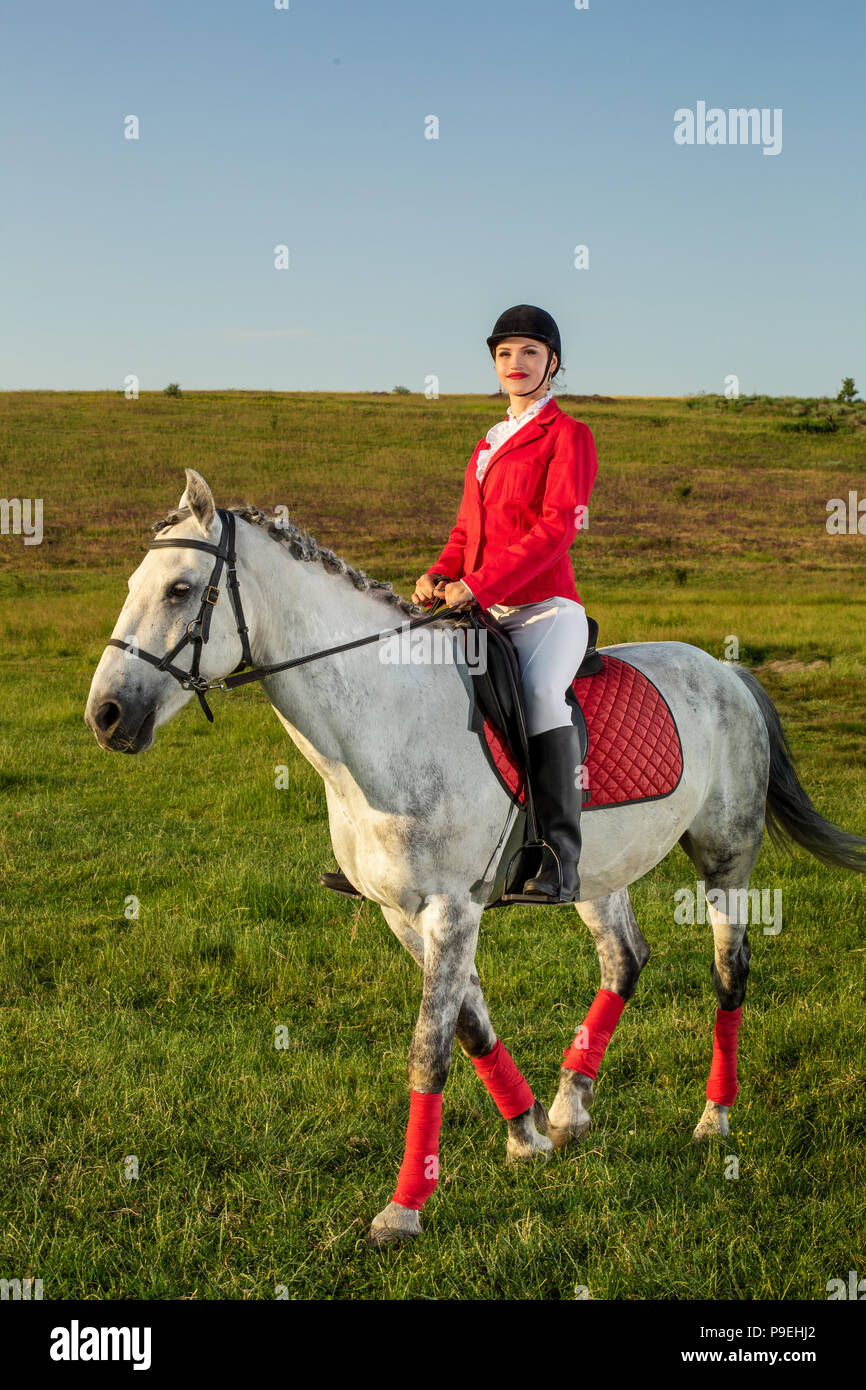Young Woman Rider Wearing Red Redingote And White Breeches With Her Horse In Evening Sunset Light Stock Photo Alamy