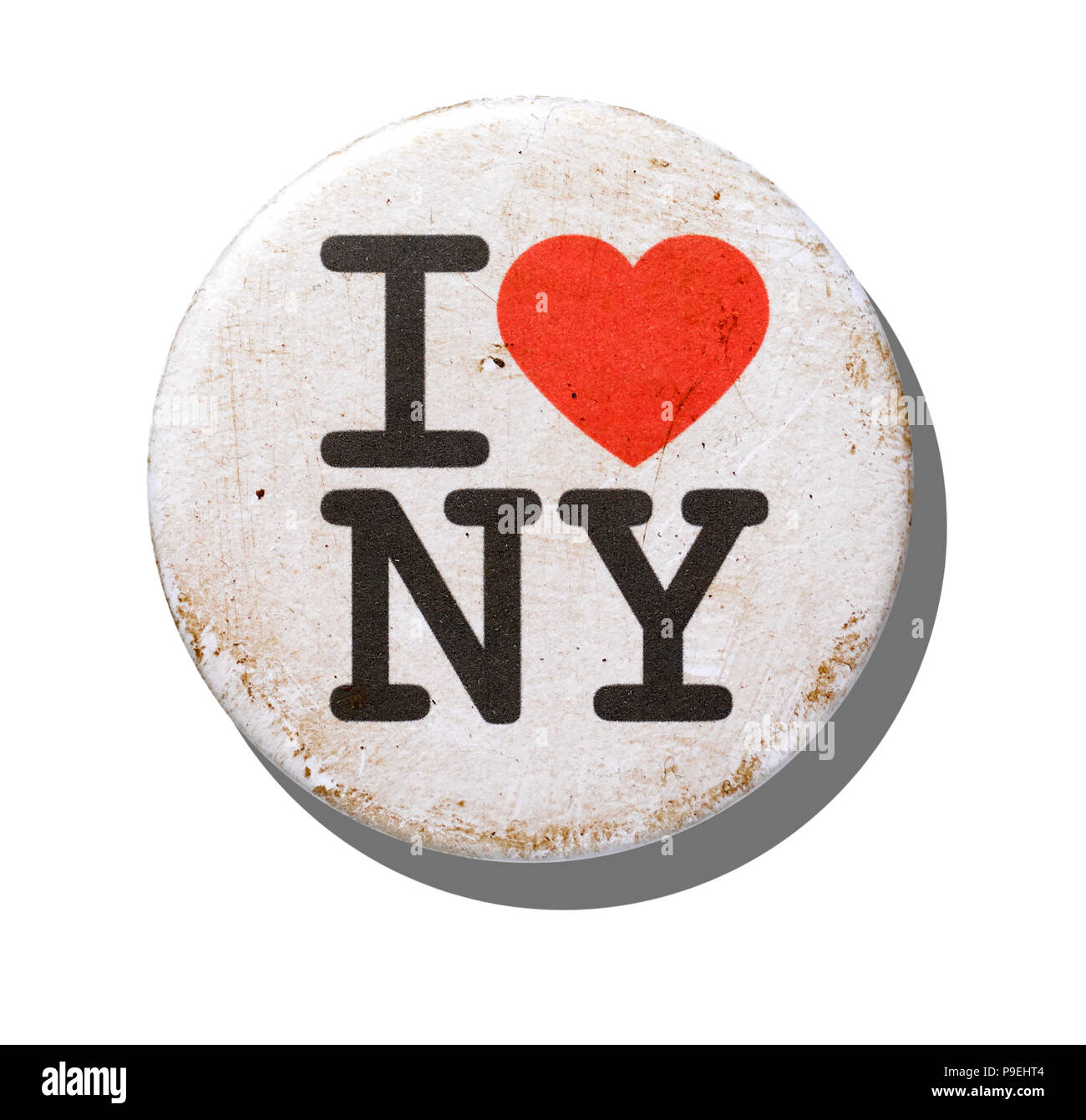 An overhead shot of a distressed I love New York badge. Stock Photo
