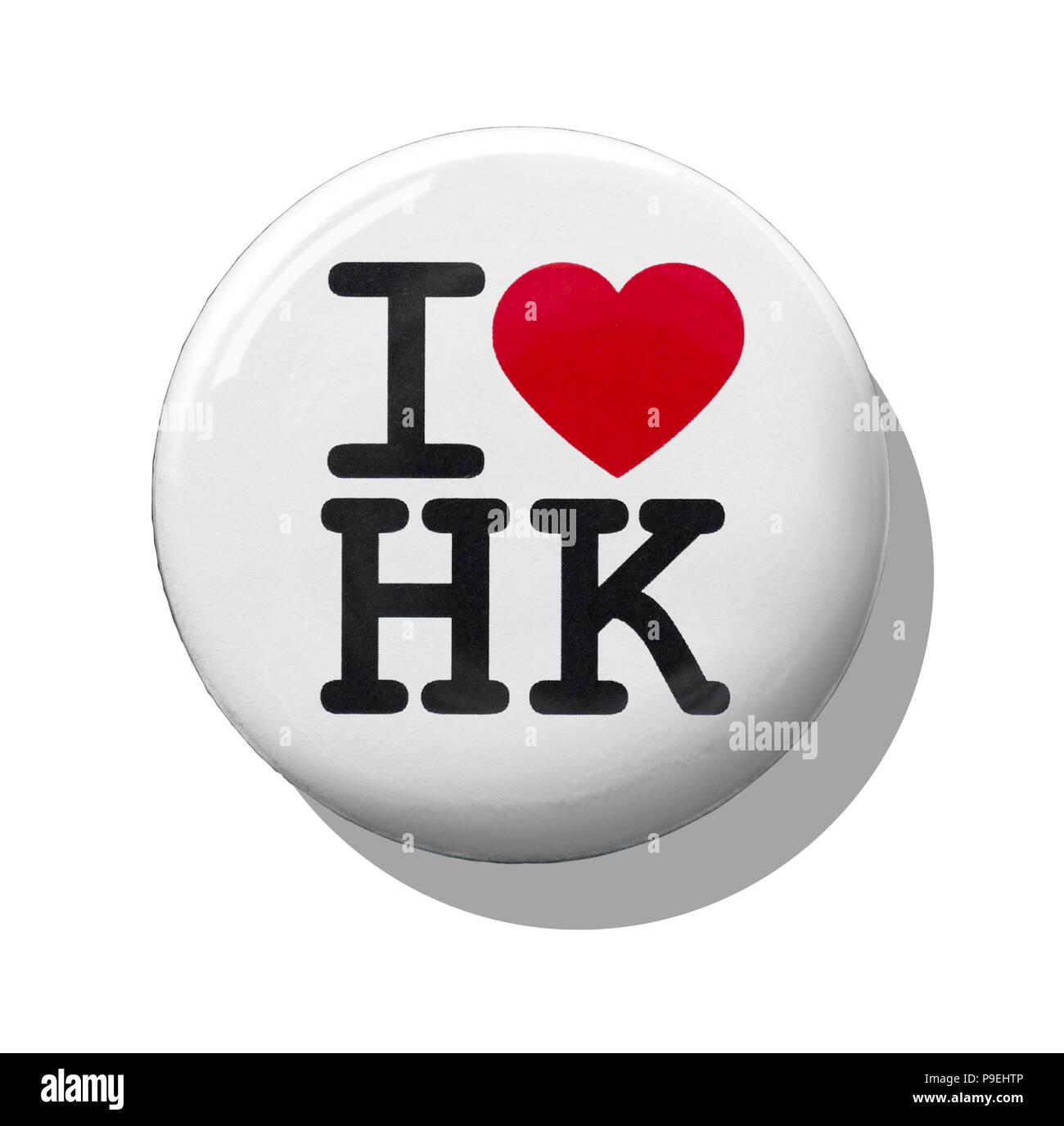 A white I love Hong Kong badge - Stock Image