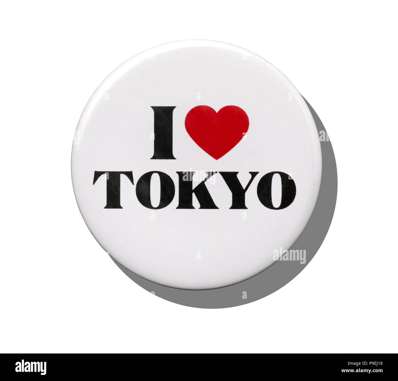 A white I love Tokyo badge - Stock Image