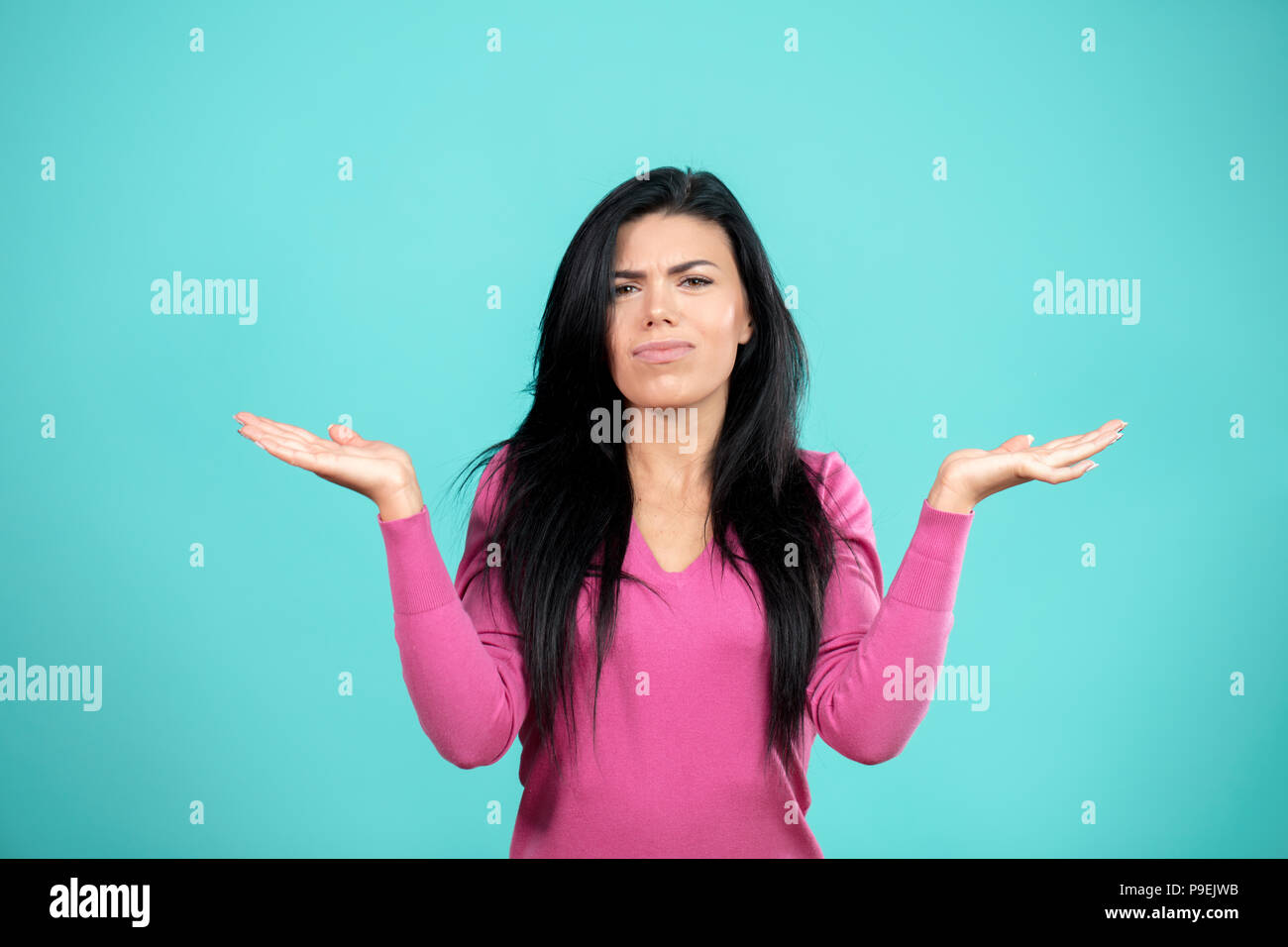 disinterest concept. woman displaying insensibility. sit loose - Stock Image