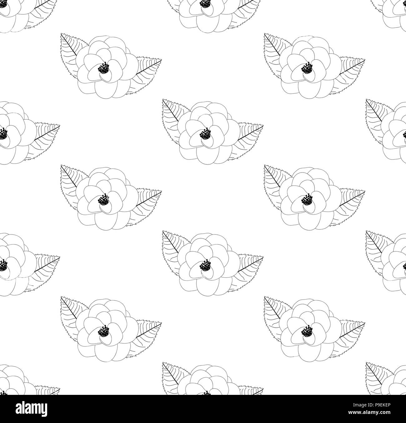 Camellia Flower Outline On White Background Vector Illustration