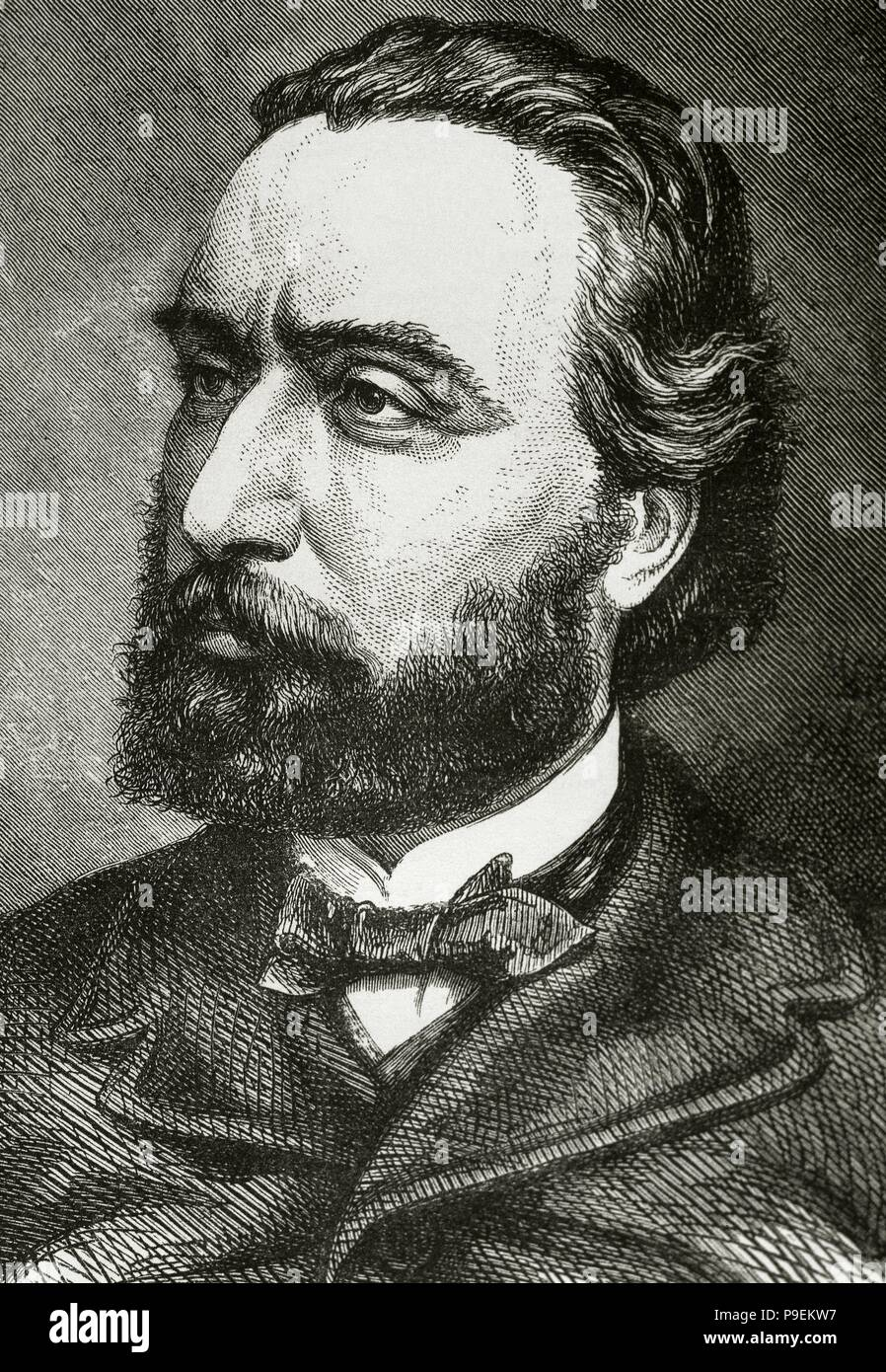 Leon Gambetta (1838-1882). French statesman. Portrait. Engraving.'Historia Universal', 1882. - Stock Image