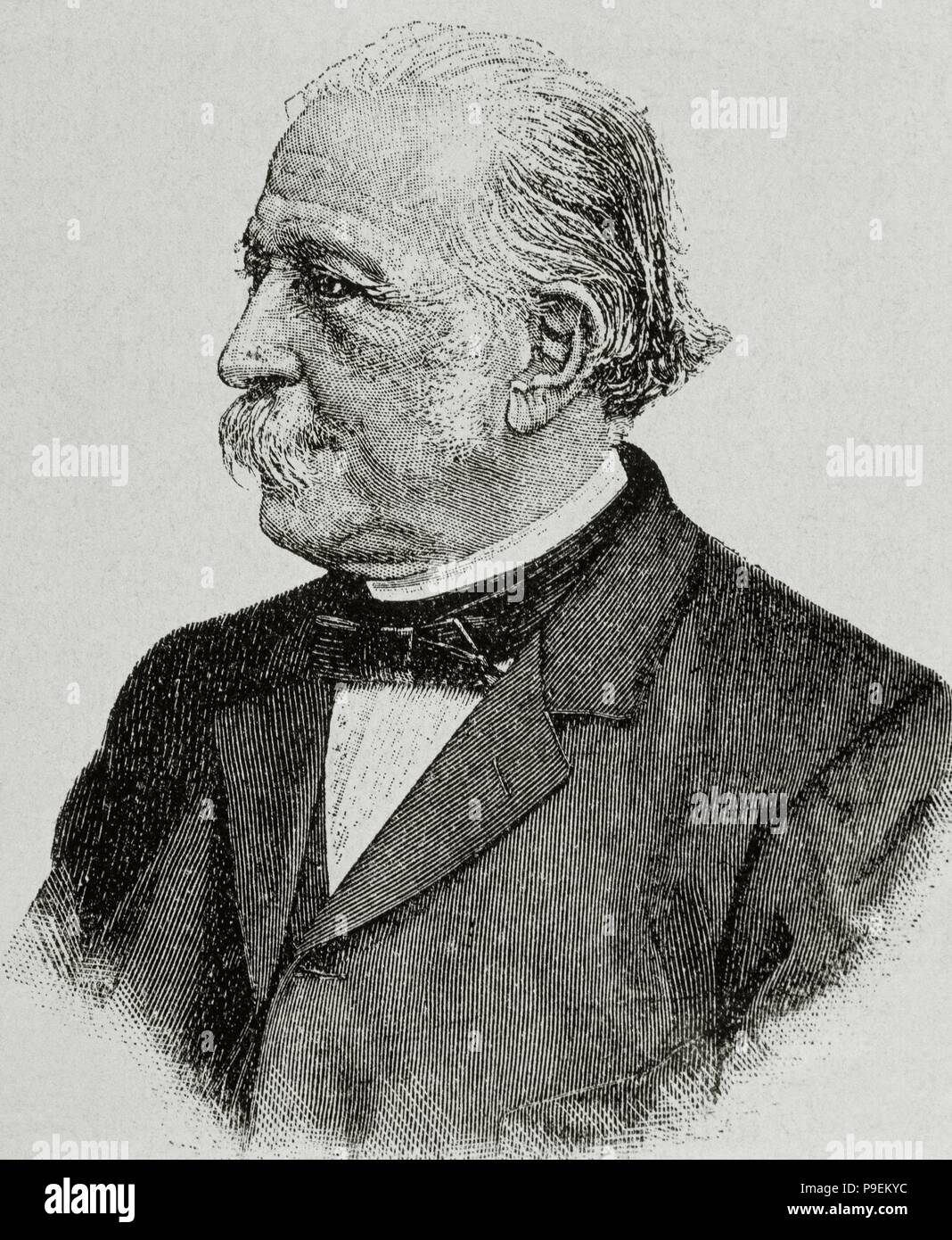 Theodor Fontane (1819-1898). German writer. Portrait. Engraving. Stock Photo