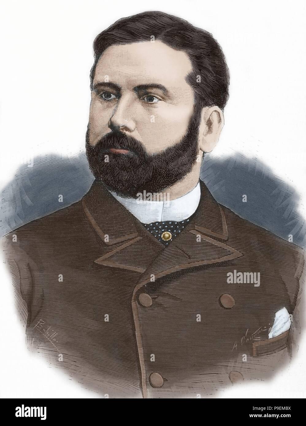 Raimundo Fernandez-Villaverde y Garcia del Rivero, jure uxoris Marquis of Pozo Rubio, (1848-1905). Spanish statesman. Portrait. Engraving by Arturo Carretero. 'La Ilustracion Espanola y Americana', 1884. Colored. - Stock Image