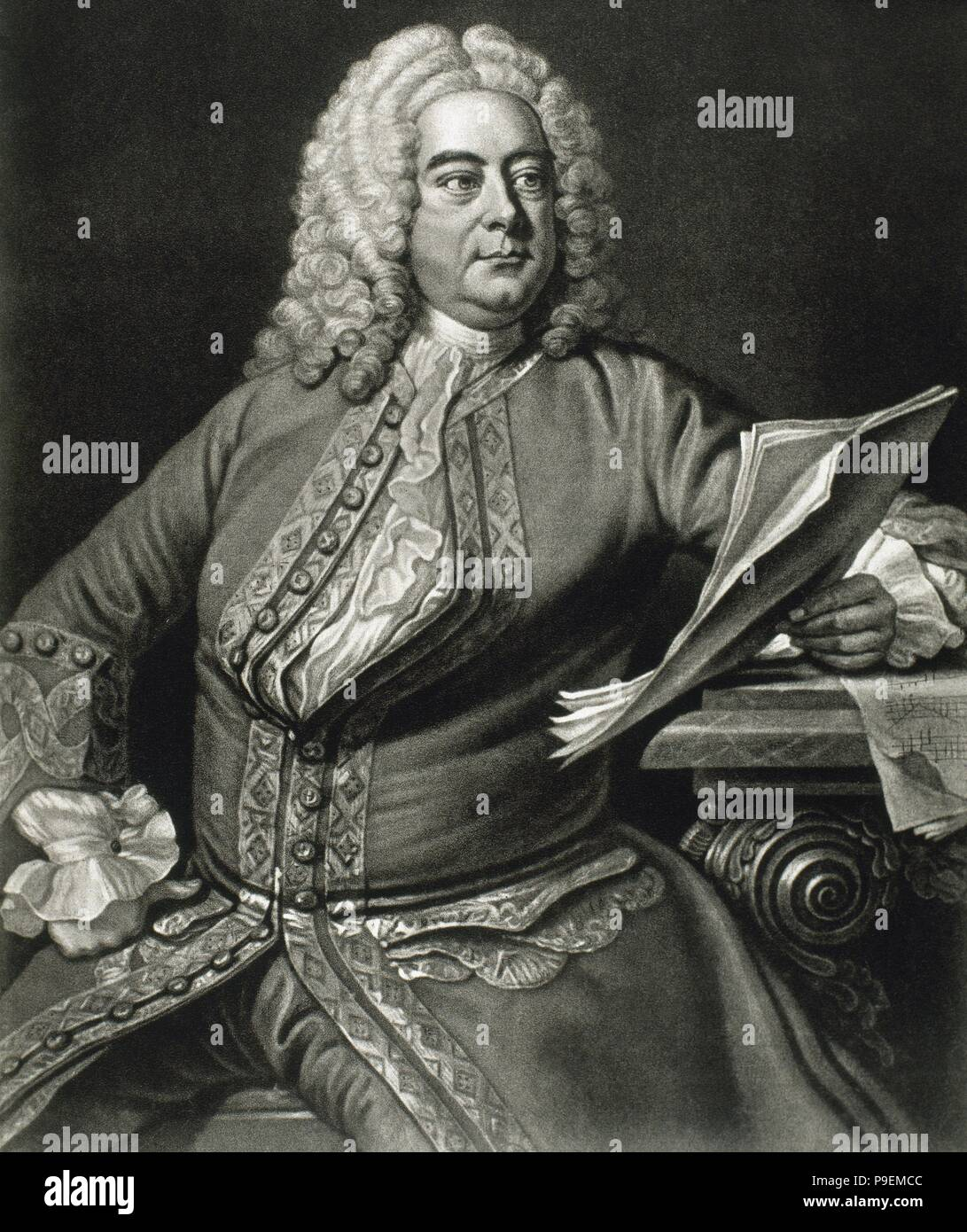 George Frideric Handel (1685-1759). German, later British, baroque  composer. Portrait. Engraving. Inspired on a portrait by Thomas Hudson in  1749.