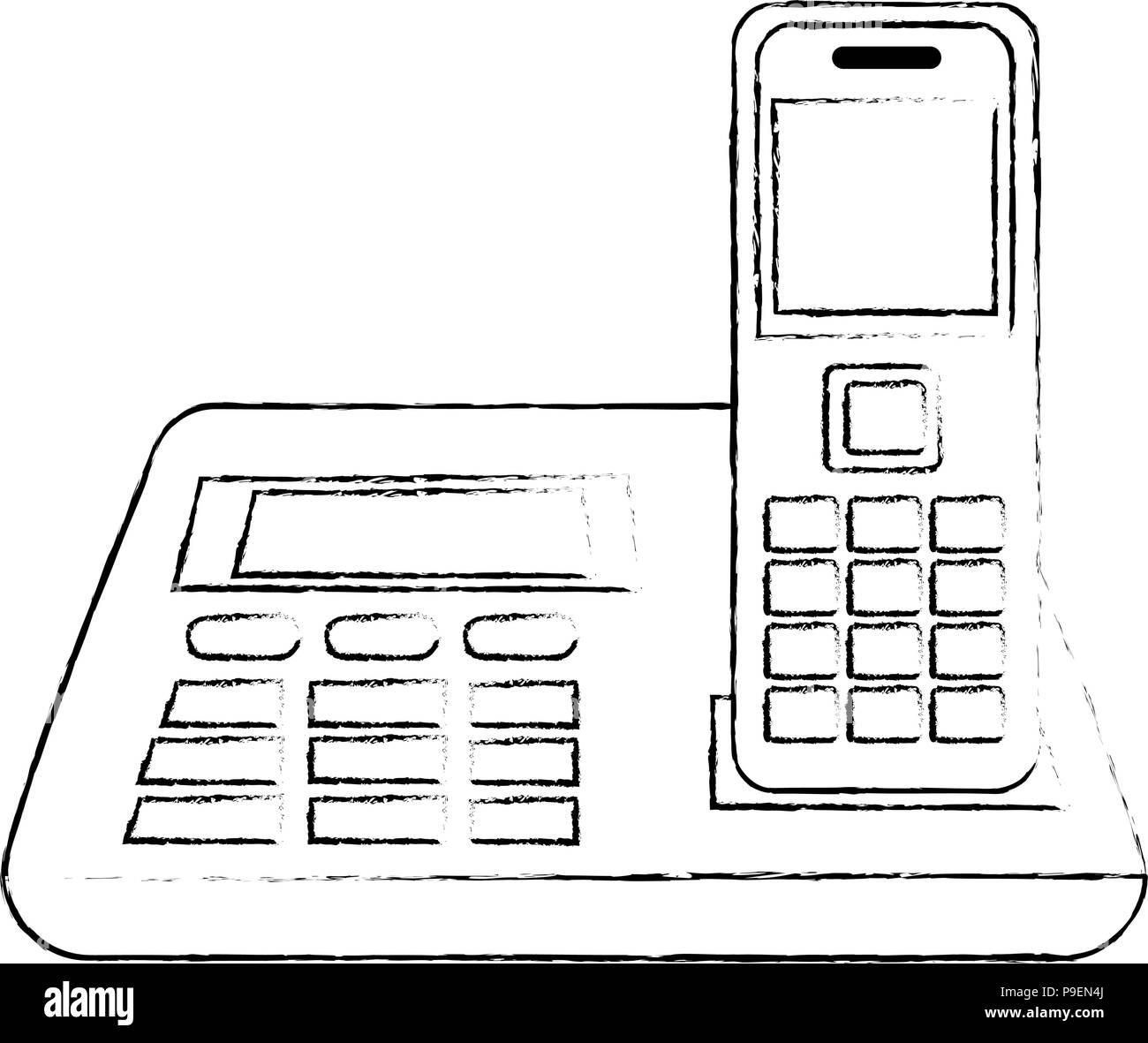 office digital telephone icon Stock Vector