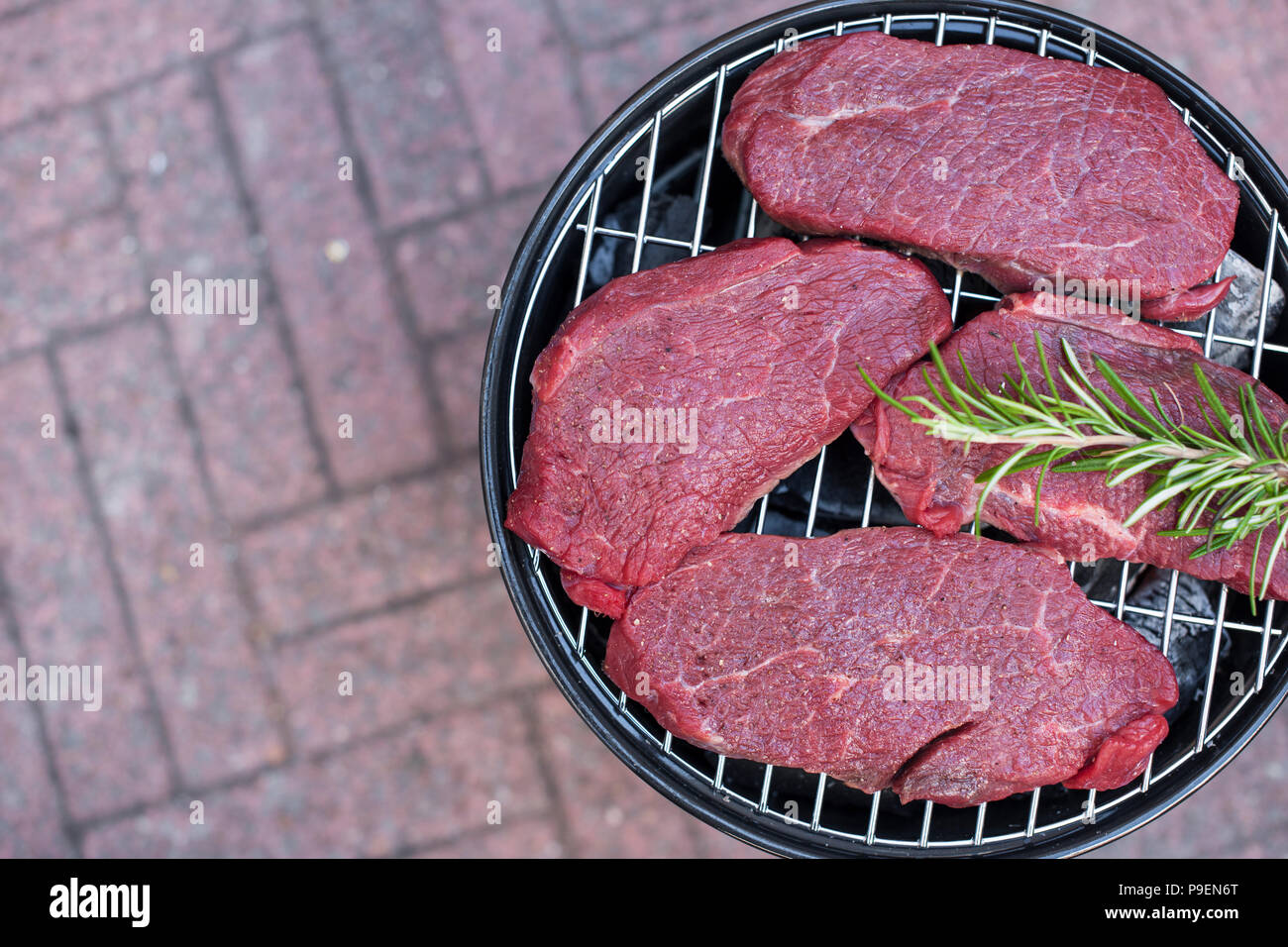 An open brazier for cooking meat. Copy space - Stock Image