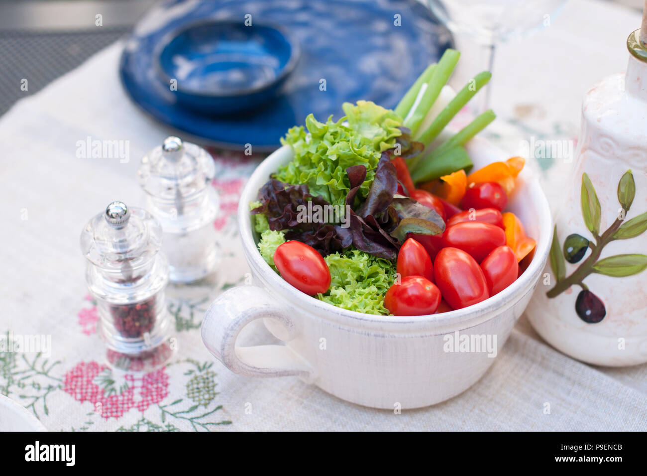 Vegetable Salad In A Ceramic Plate Lunch In The Open Air