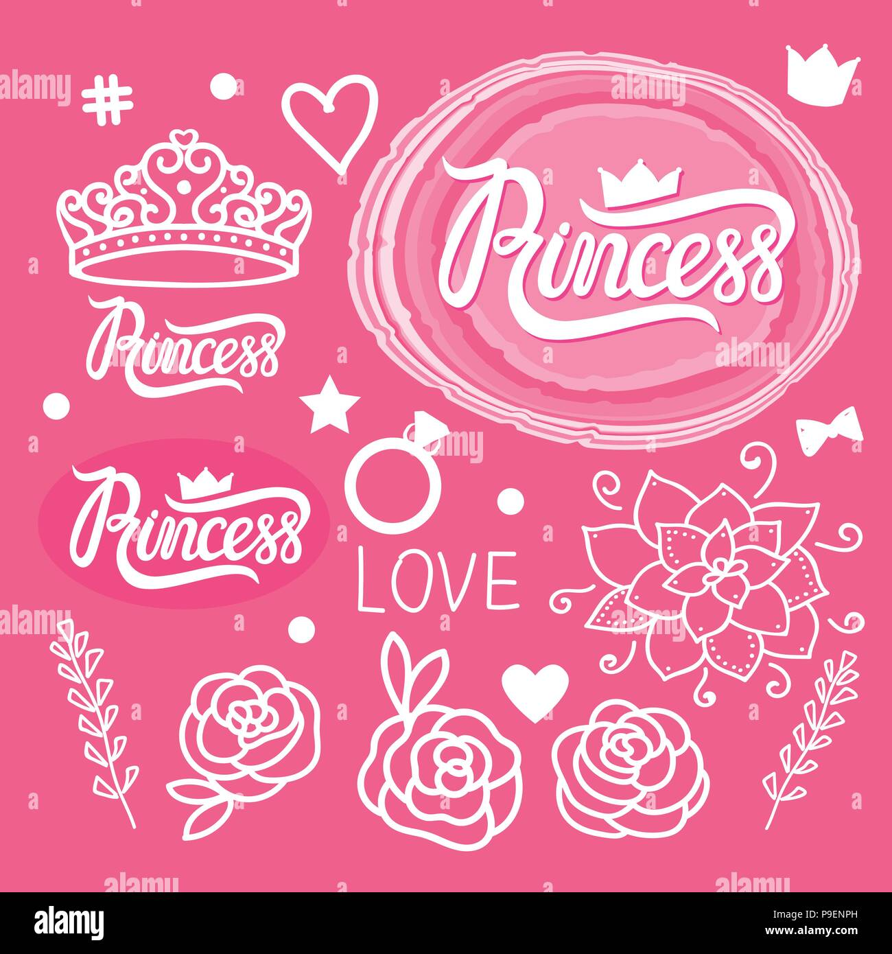 Vector Set of design elements for girls. Hand drawing. Princess style. - Stock Vector