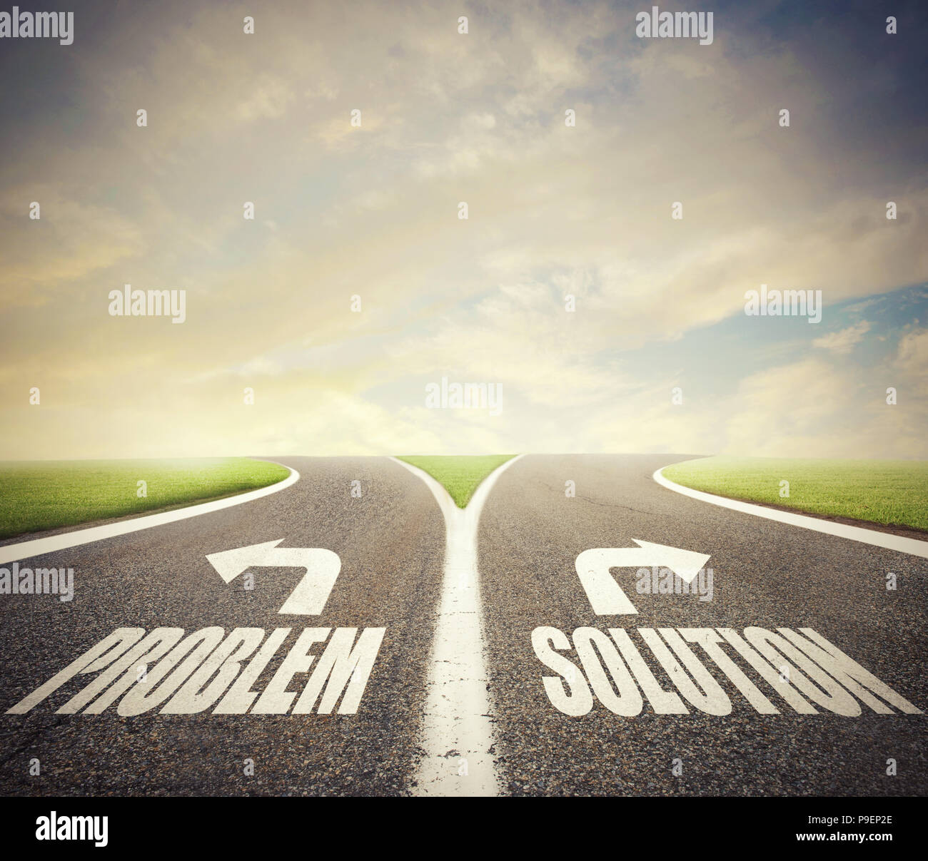 Crossroads with problem and solution way. Concept of right decision - Stock Image