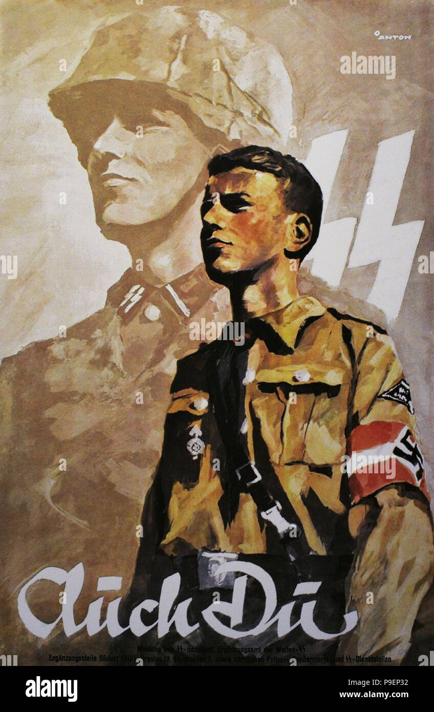 German propaganda poster to encourage young people to do military service in the Wehrmacht army. It was also addressed to young people of Upper Silesia registered in Volksliste (list of the German people in the occupied territories). Stock Photo