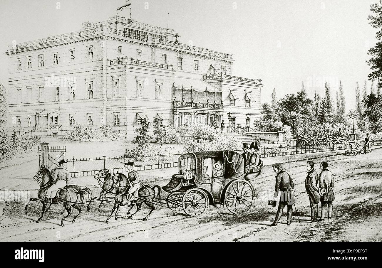History of Poland. 19th century. Industrial Revolution Period. Upper Silesia. Ride in carriage. Engraving. - Stock Image