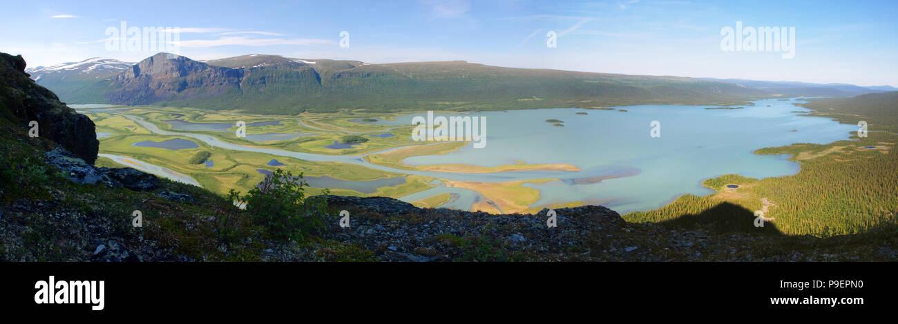The Beauty of Northern Sweden  - Rapaätno delta. Rapaätno delta, Sarek, Northern Sweden. Stock Photo