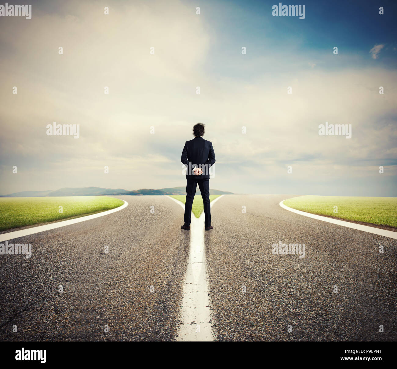 Choices of a businessman at a crossroads. Concept of decision - Stock Image