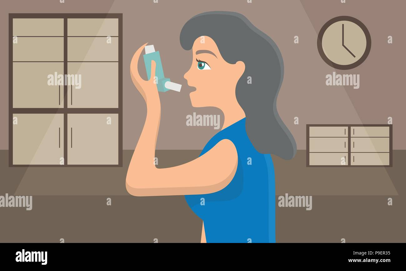 Woman using a spray inhaler to stop asthma attack. Bronchial disease awareness - Stock Image