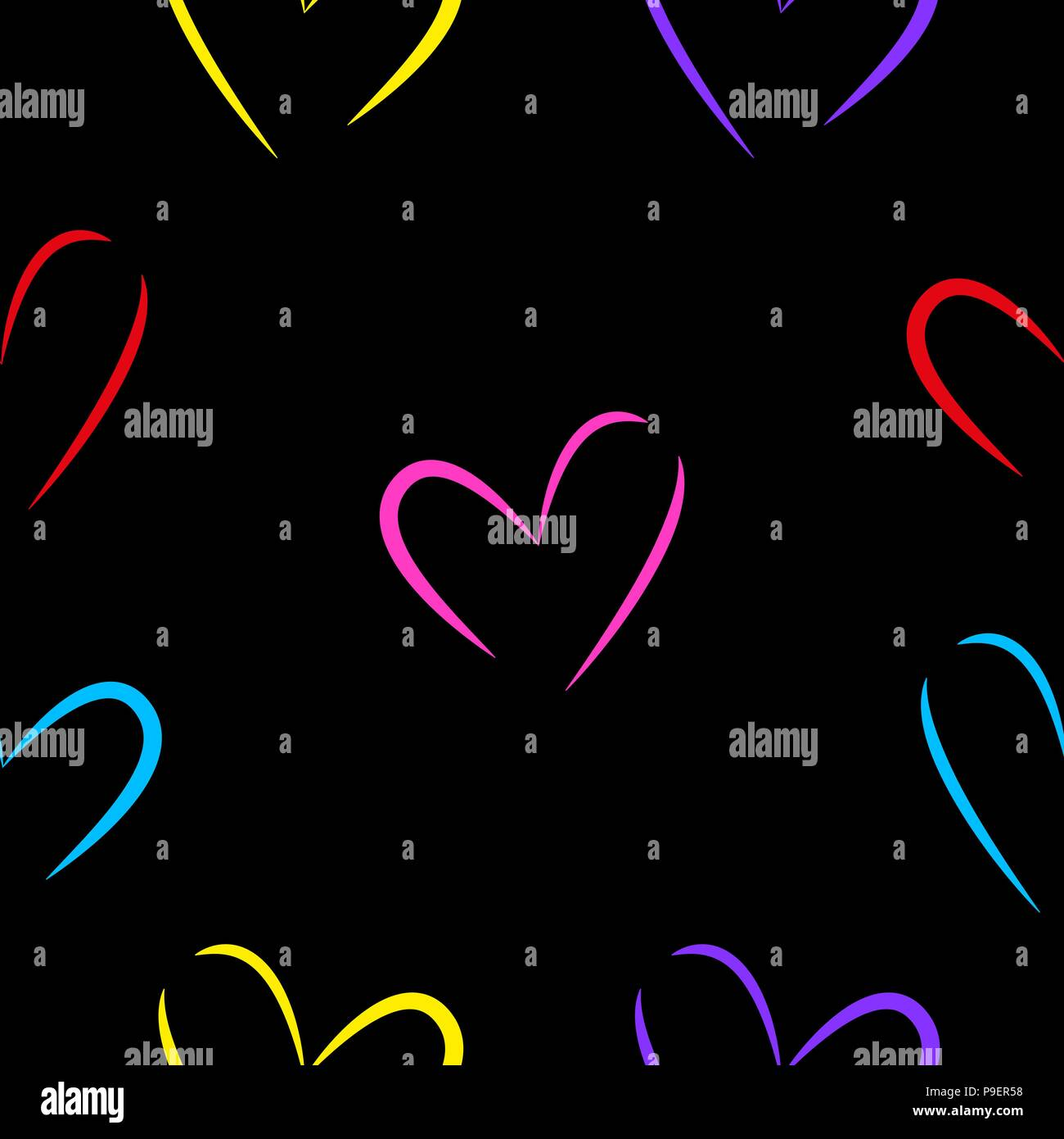 Seamless texture of multi-colored hearts isolated by black background. - Stock Vector