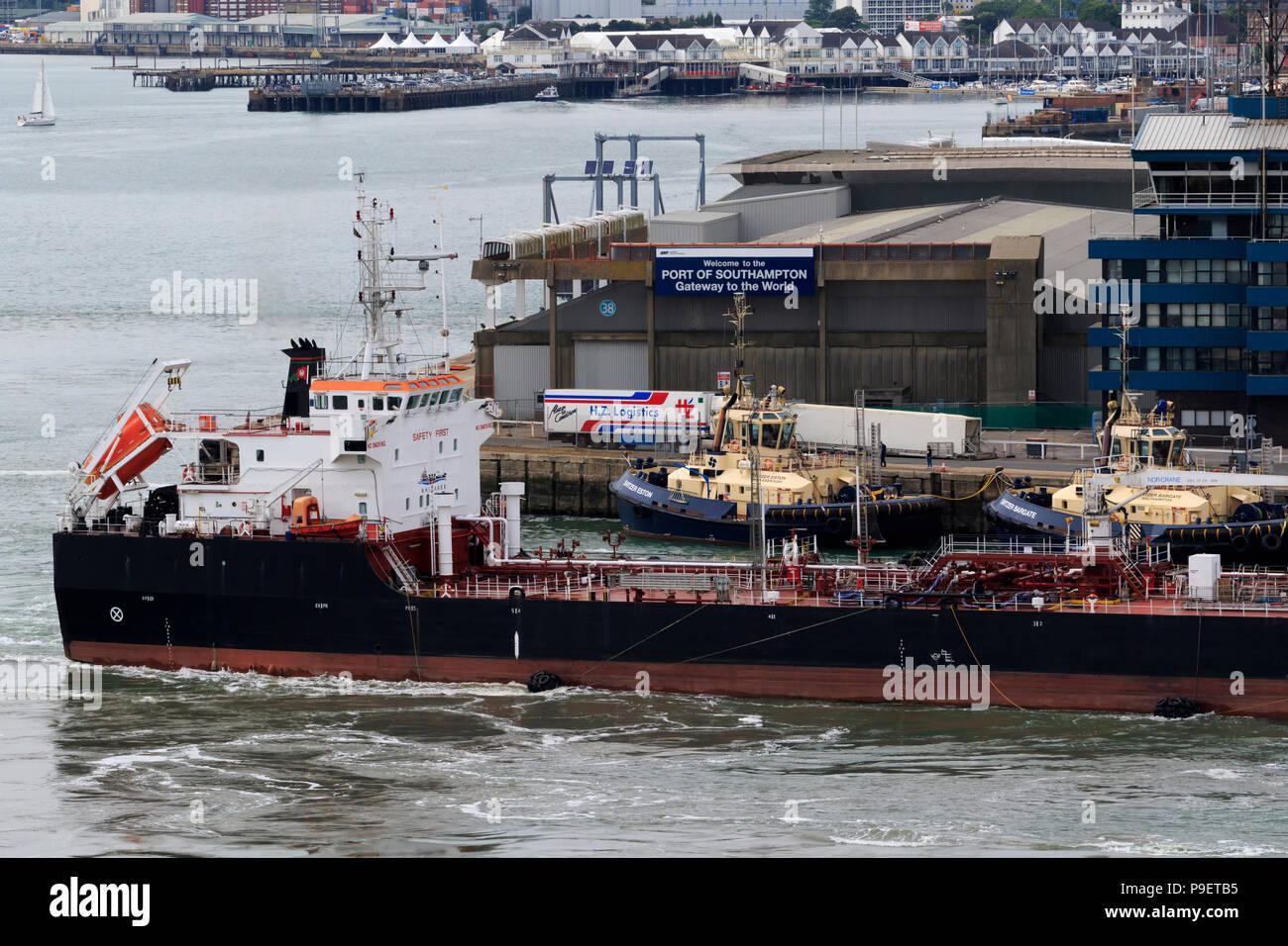 Oil Tanker, Port of Southampton, Hampshire, England, United Kingdom - Stock Image
