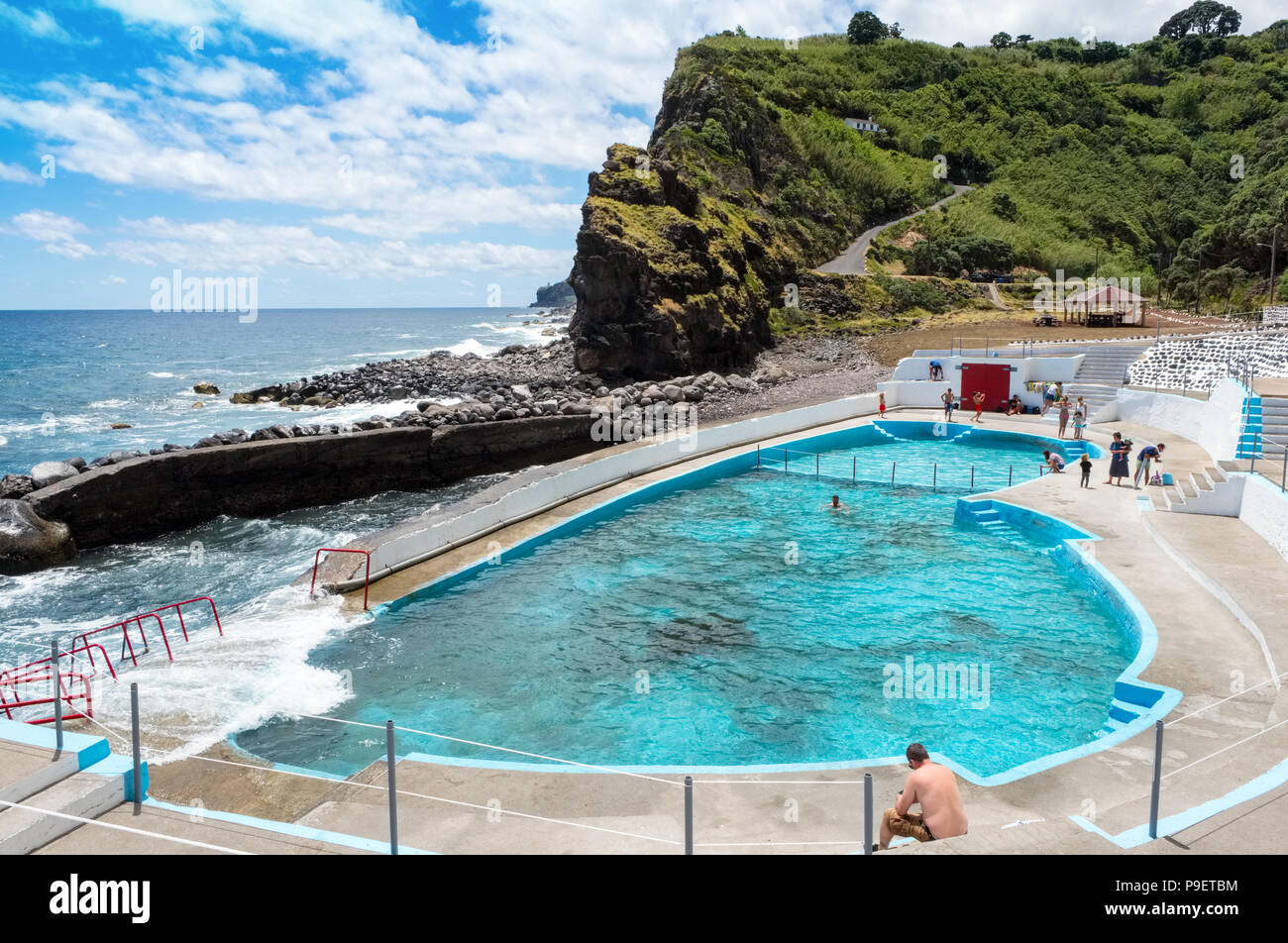 Swimming pool at Ponta Ribeira on the northeast coast of Sao Miguel, The Azores - Stock Image