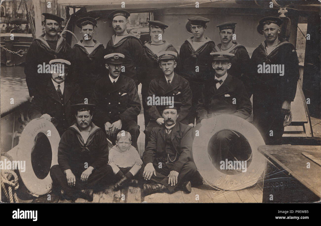 Vintage Photograph Of The Crew Of A Ship Called Pioneer Stock Photo