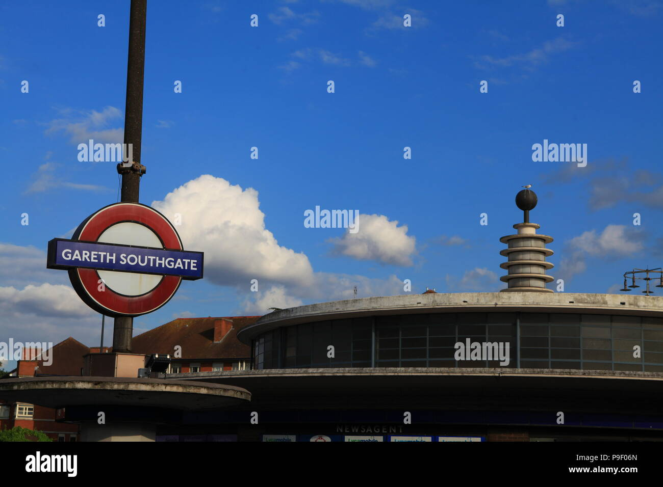London, UK. 17th July 2018. Southgate Piccadilly Line Station temporarily renamed for 48 hours in honour of Gareth Southgate and the England team. Credit: FelixB/Alamy Live News Stock Photo