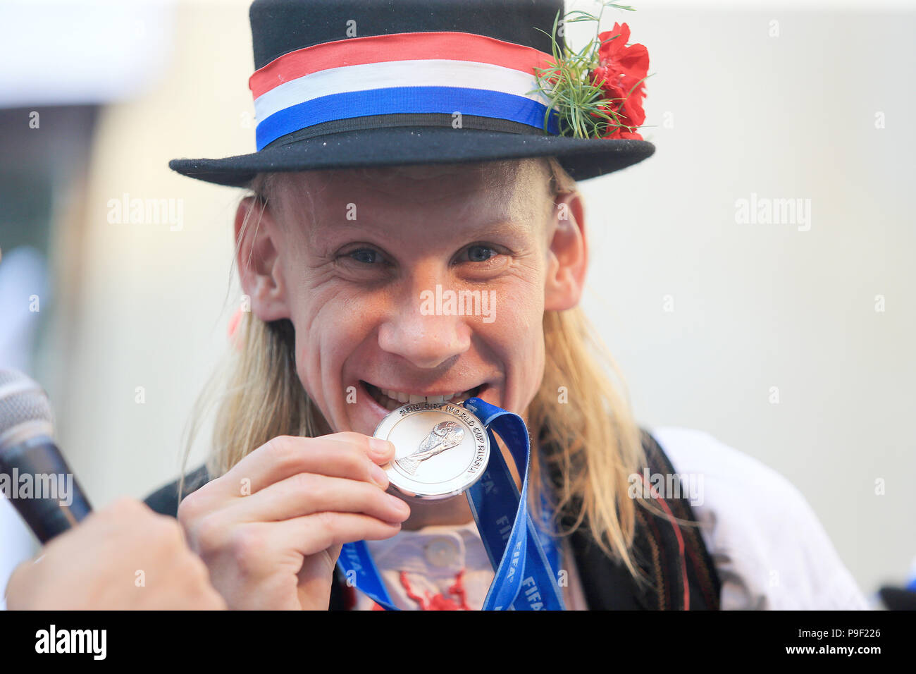 Donji Miholjac, Croatia. 17th July, 2018. Croatian football player Domagoj Vida bites his World Cup medal during celebration in Donji Miholjac, Croatia, on July 17, 2018. Croatia won the second place at the 2018 FIFA World Cup in Russia. Credit: Dino Stanin/Xinhua/Alamy Live NewsStock Photo