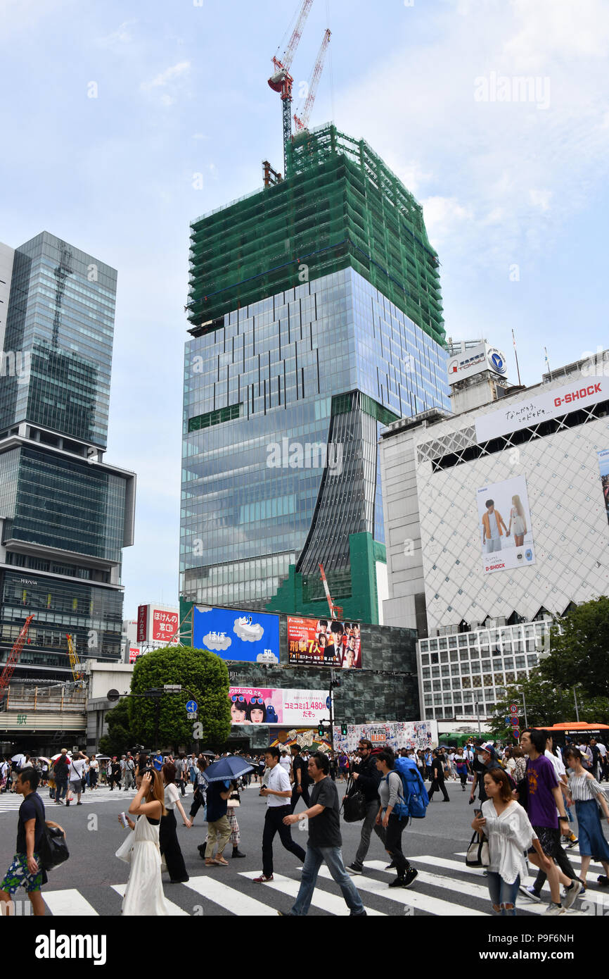 9a4c7089 Tokyo, Japan. 11th July, 2018. Tokyos bustling neighborhood of Shibuya has  been undergoing a major transformation on July 11, 2018, ahead of the  Olympic ...