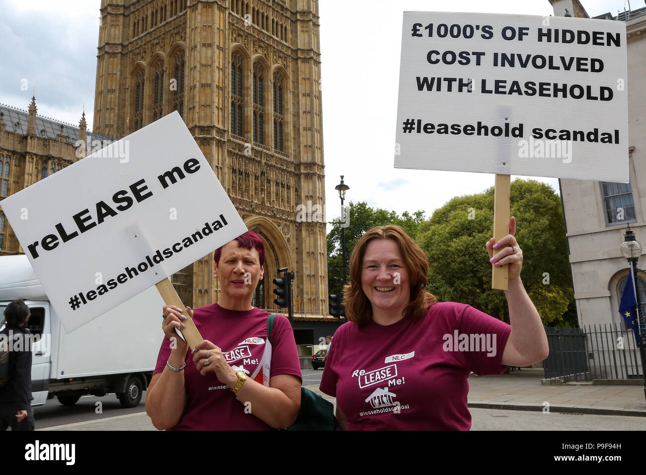 Westminster. London. UK. 18 July 2018 - Members of the National Leasehold Campaign (NLC) stage a protest opposite the Parliament over the scandal of property leaseholder rights which currently allow landlords to buy and sell property freeholds with little or no control over service charges or ground rent.   Credit: Dinendra Haria/Alamy Live News - Stock Image
