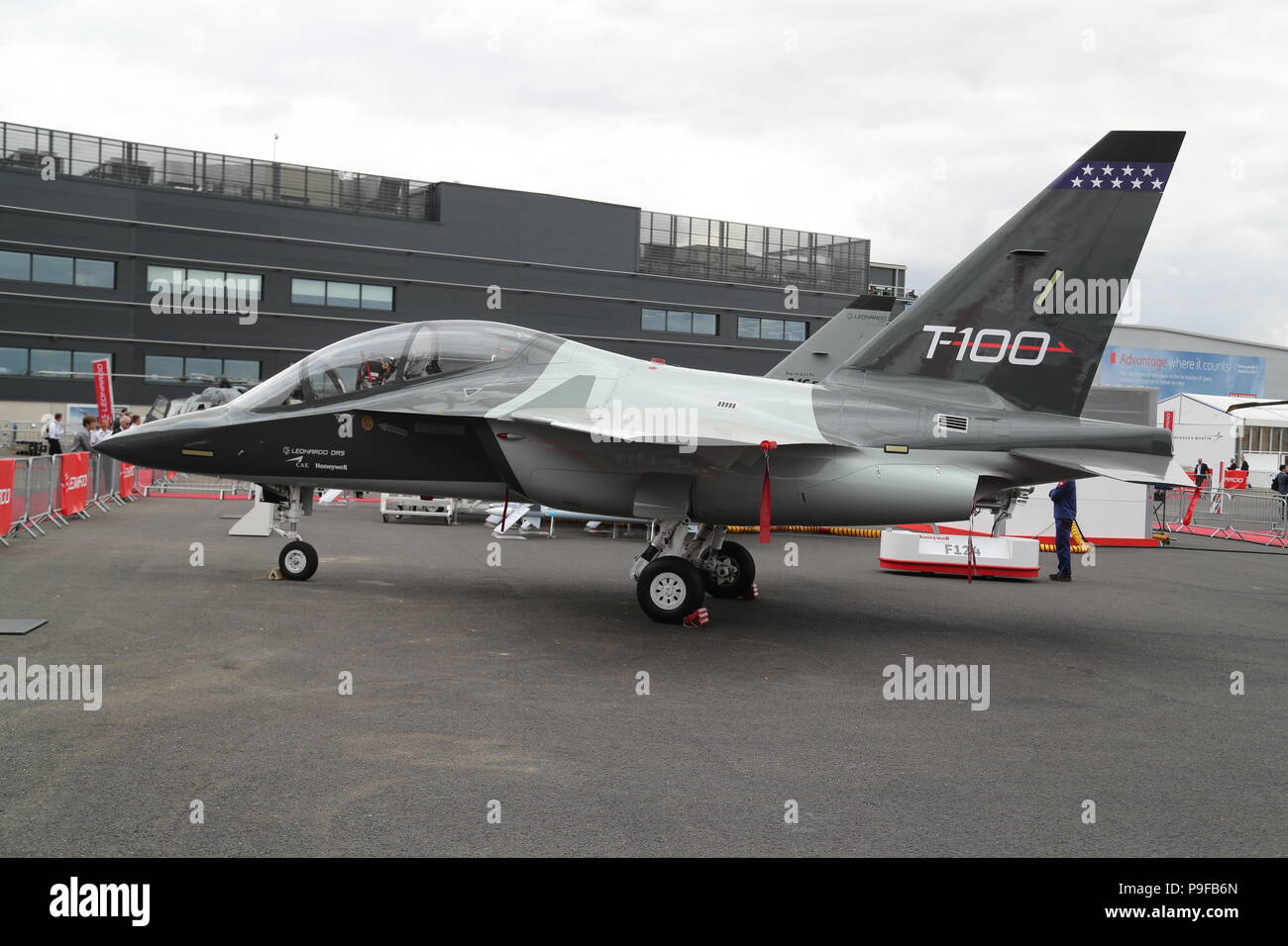 The aircraft manufacturers and suppliers displayed their latest technology at the stands. During the flying display the aircraft showed their agility and manoeuvrability of their latest aircraft during today's flying display . Credit: Uwe Deffner/Alamy Live News - Stock Image