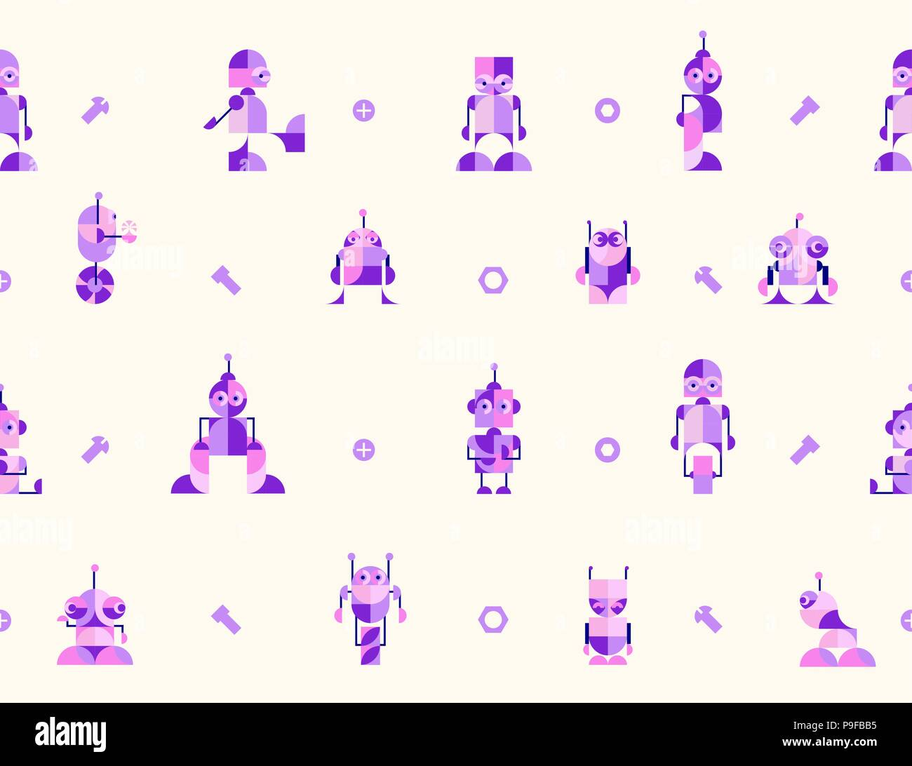 Nursery Childish Seamless Pattern Background with robots. Decorativ Style Trendy Textile, Wallpaper, Wrapping Paper, Kids Apparel Design. Stock Vector