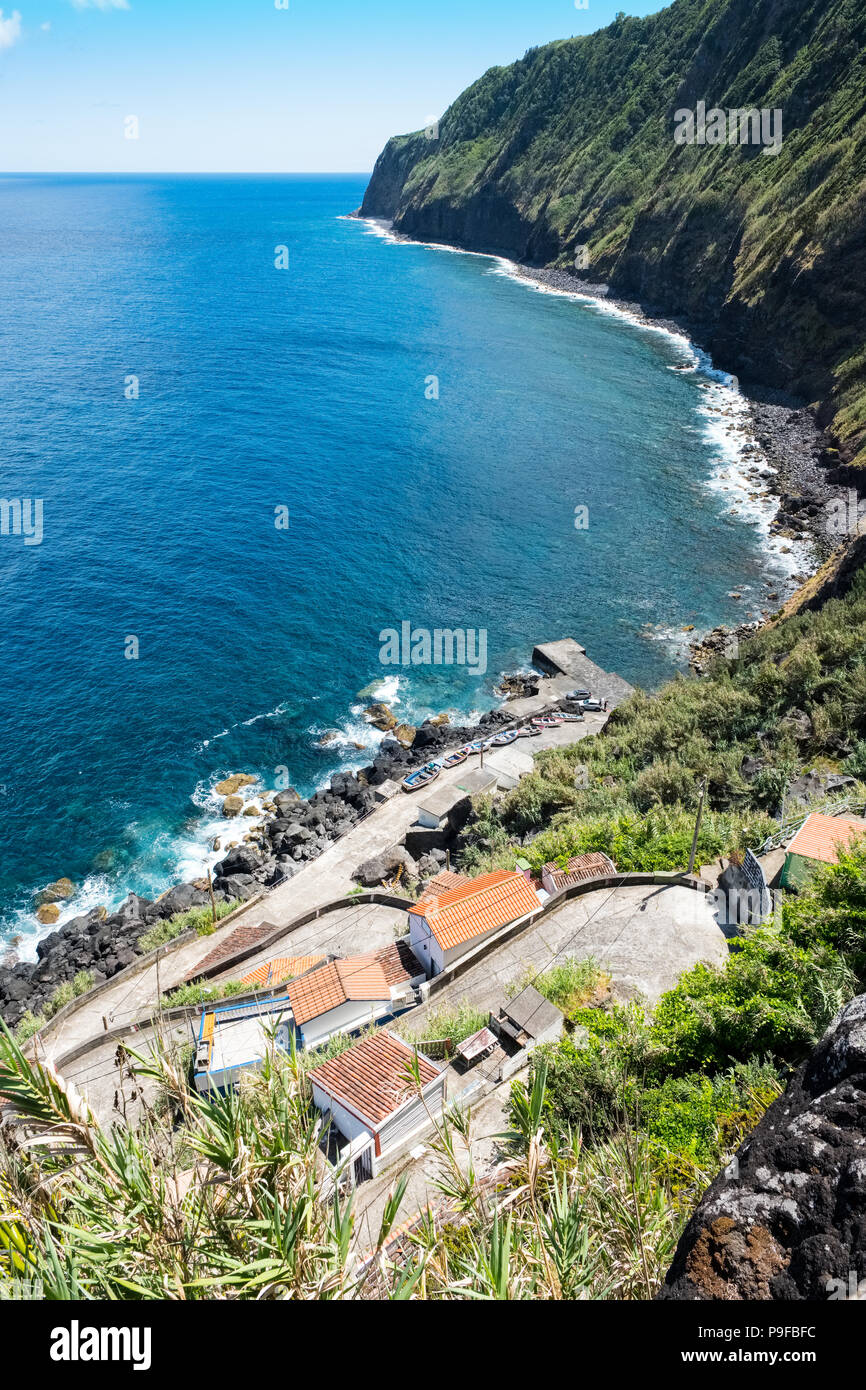 The Atlantic and the cliffs on the coast of Sao Miguel, The Azores - Stock Image