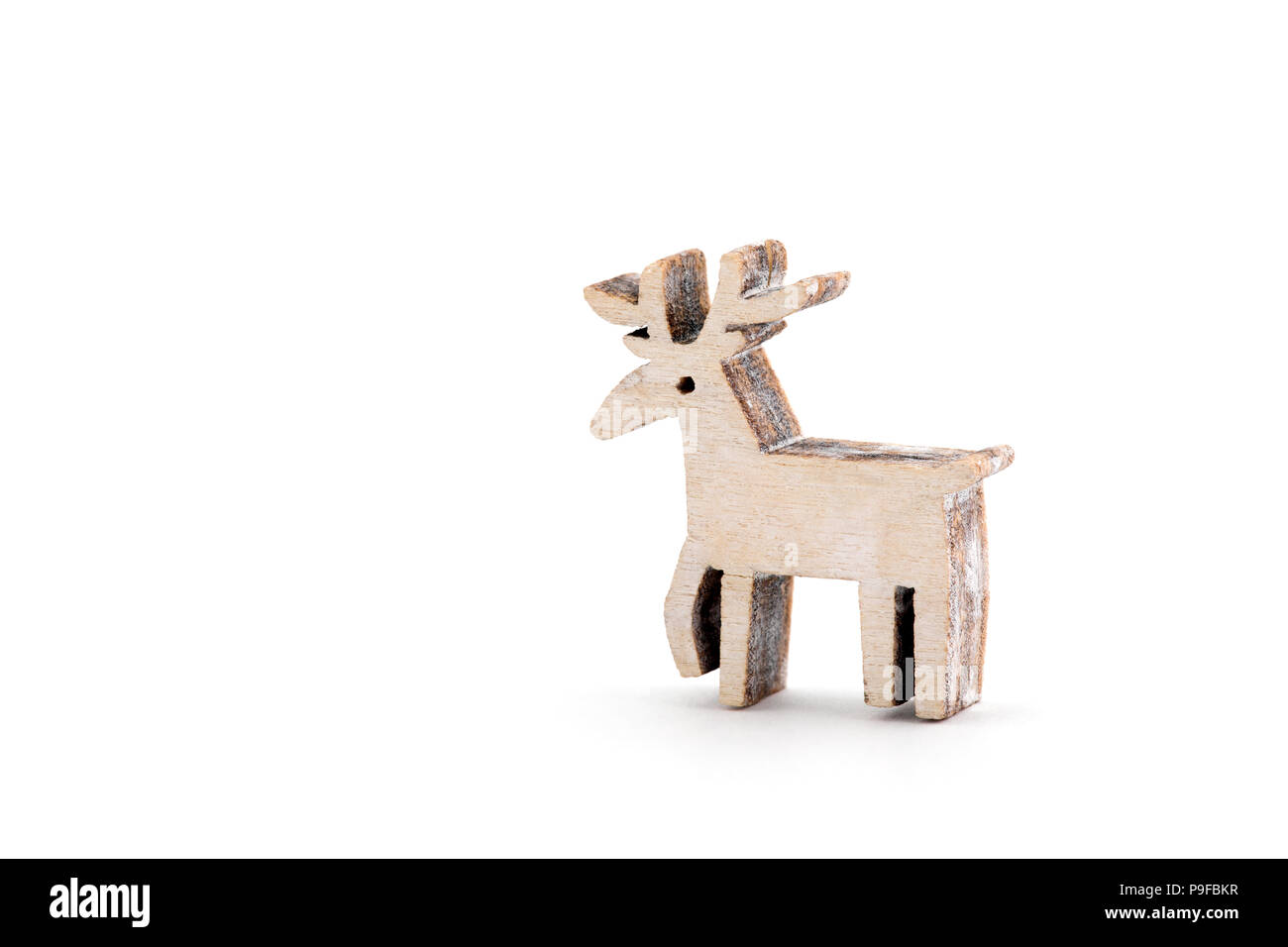 wooden reindeer christmas decoration on white background - White Deer Christmas Decoration