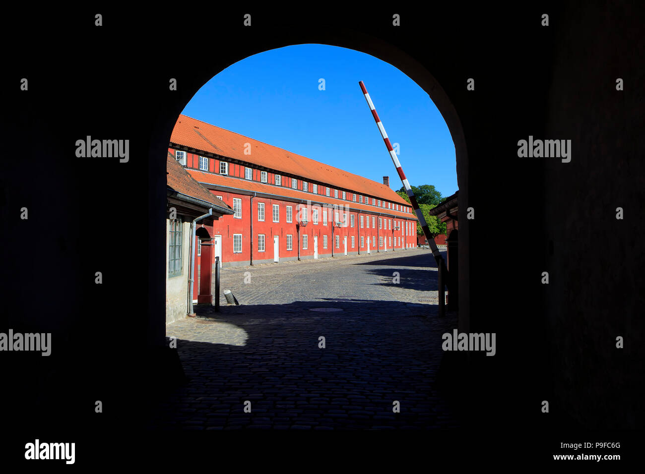 A view at the Rows through the 17th-century King's Gate (1663) of the Citadel (Kastellet) in Copenhagen, Denmark - Stock Image