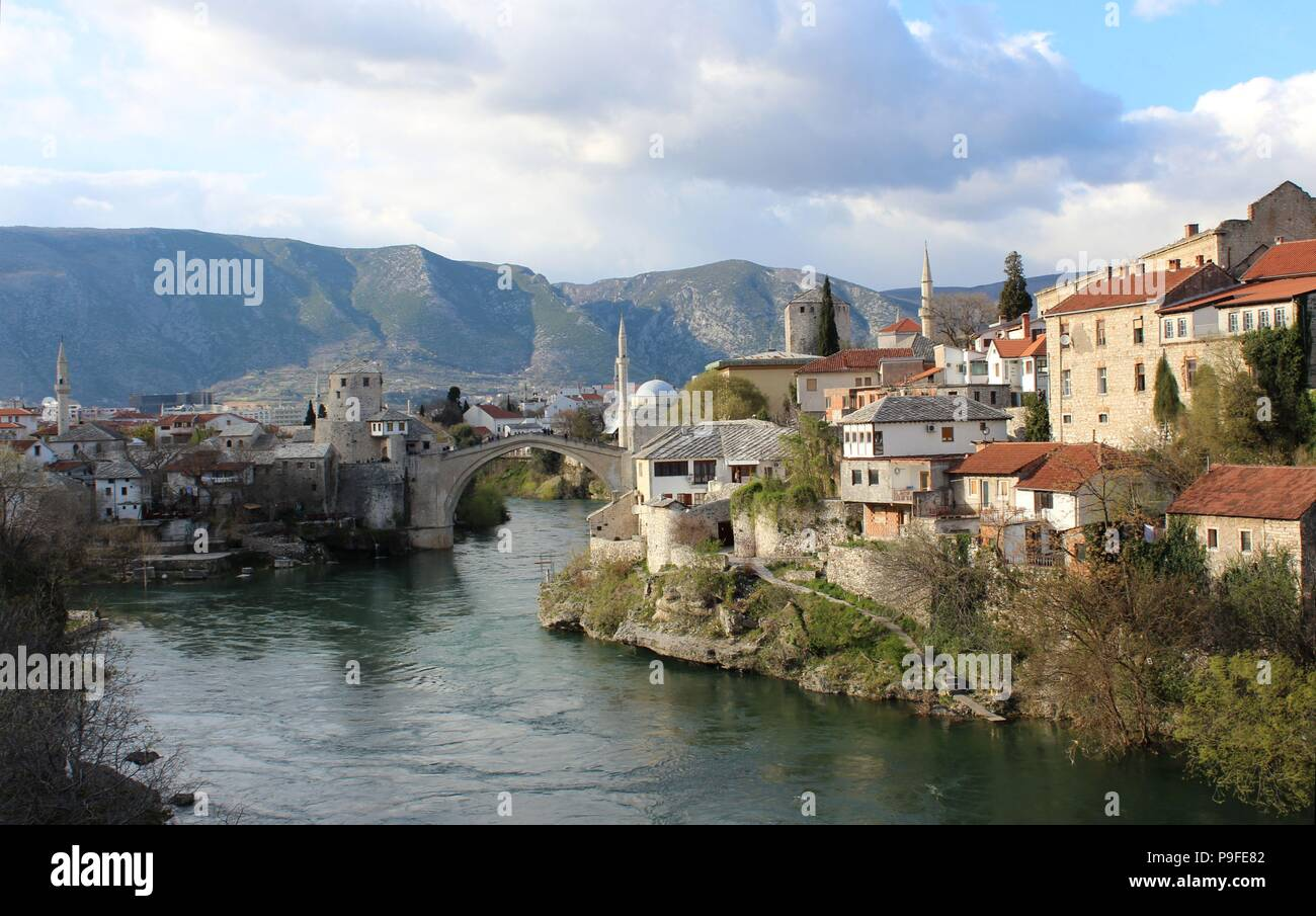 View of Mostar Bridge and Centre in Bosnia - Stock Image