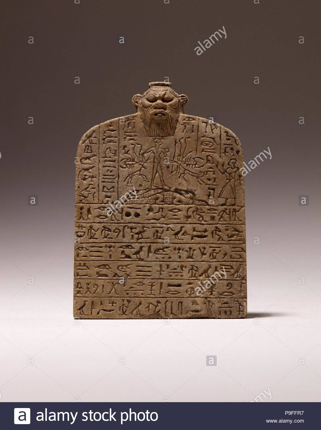 Small Magical Stela with Shed dedicated by Nesamenemopet, son of Djedkhonsuiufankh, Third Intermediate Period, Dynasty 25, ca. 750–664 B.C., Possibly from Fayum; From Egypt, Anhydrite. Stock Photo