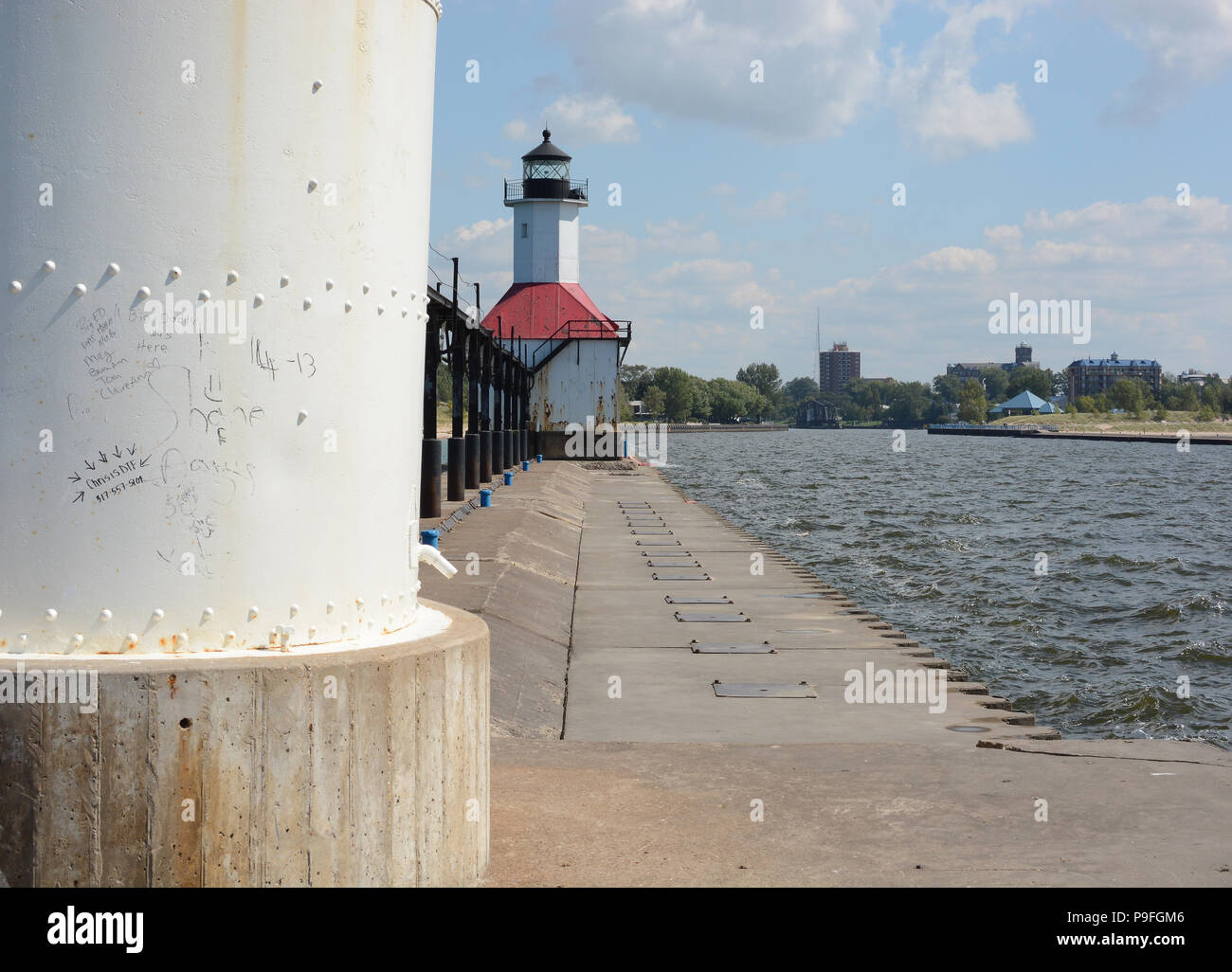 The St  Joseph North Pier Lighthouse in St  Joseph, Michigan