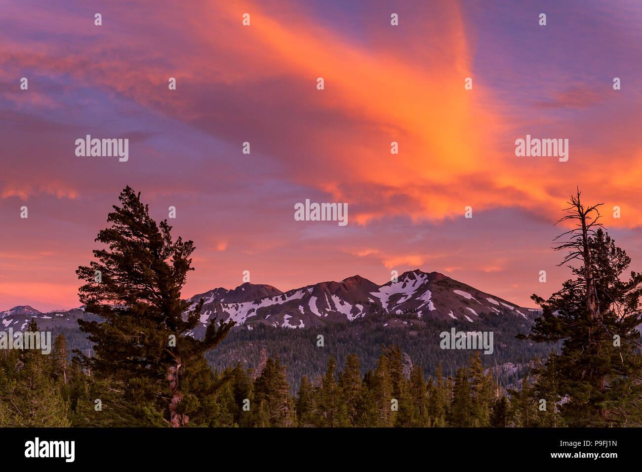 Sunset, Folger Peak, Carson-Iceberg Wilderness, Stanislaus National Forest, California - Stock Image
